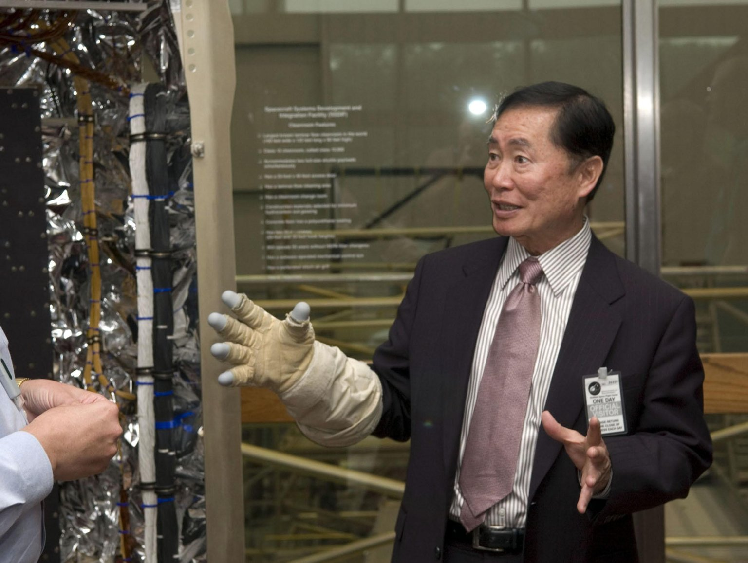 George Takei Outside the High-Bay Clean Room
