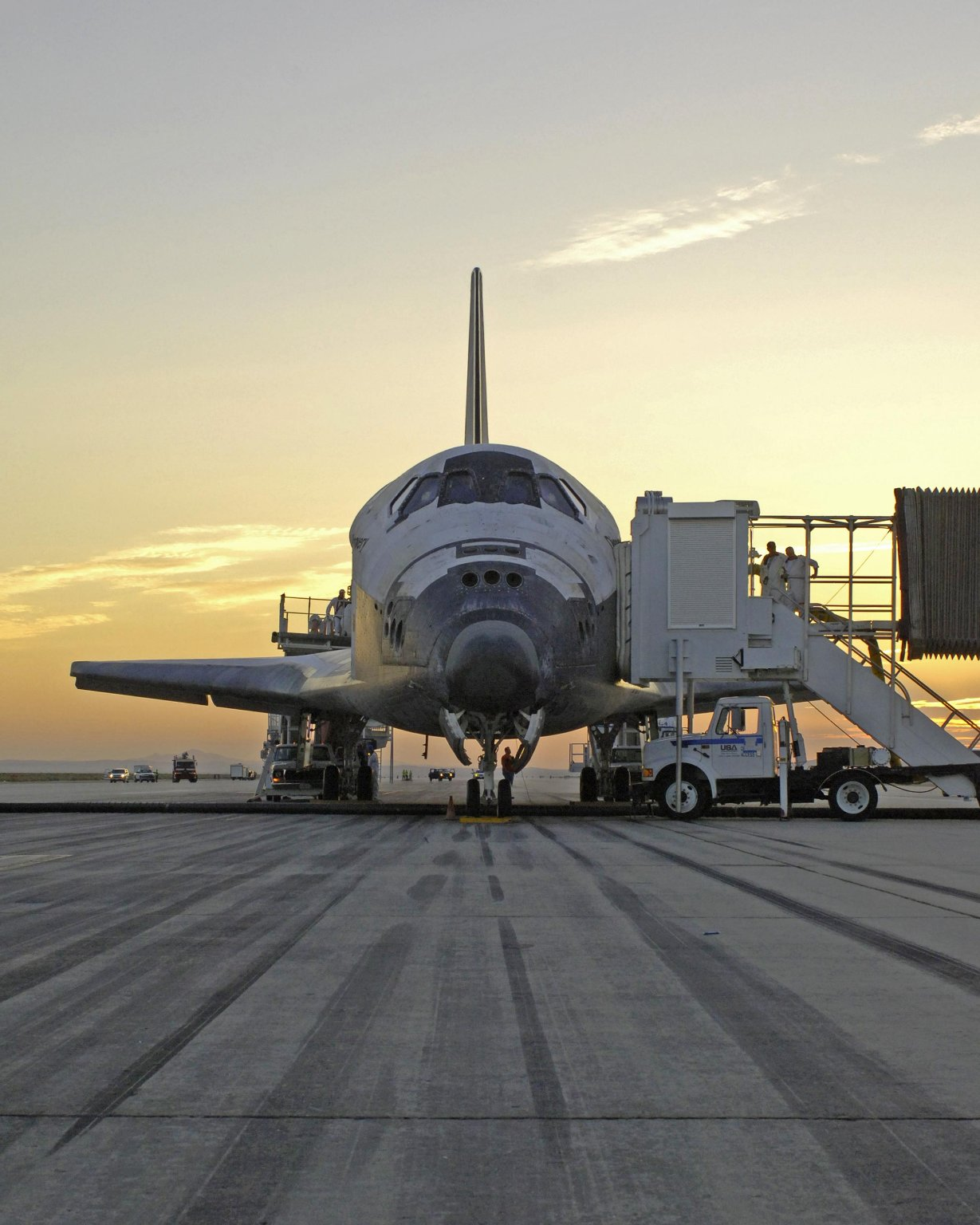 Shuttle Discovery on the Runway at Edwards Air Force Base in California.