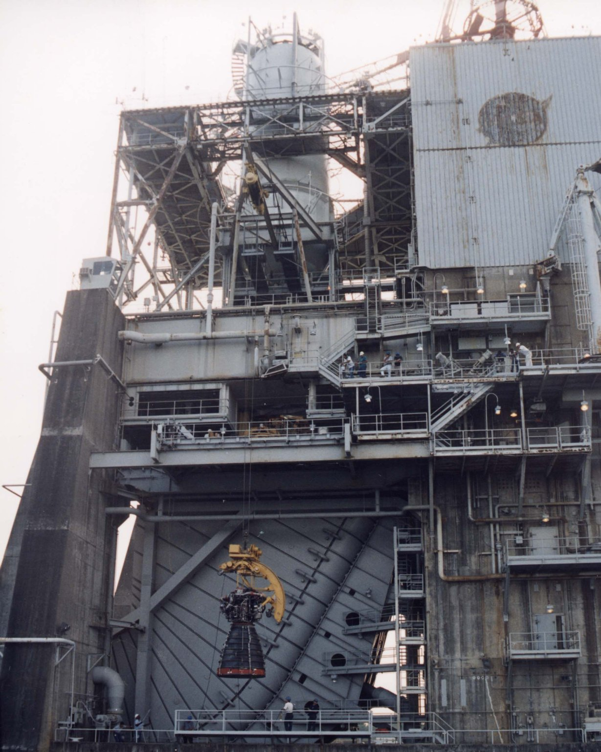 SSME is Hoisted into Test Stand