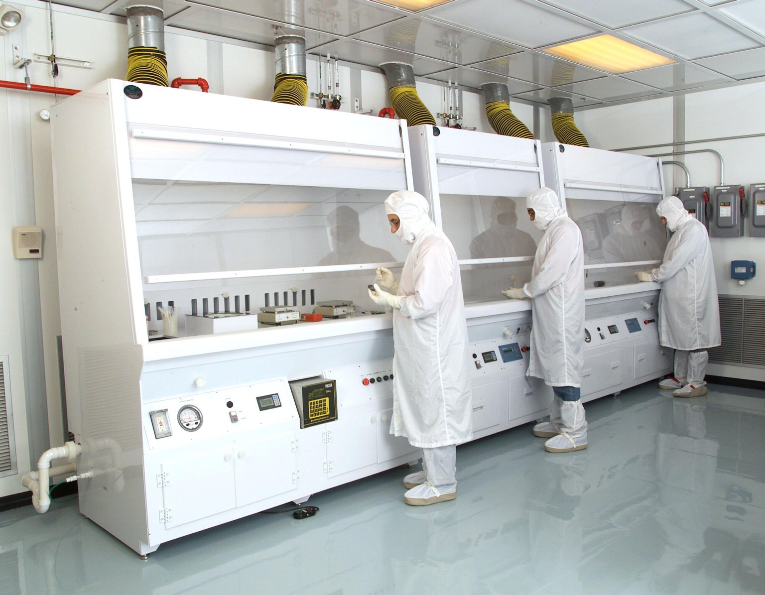 This featured image shows a class 100 clean room at the NASA Glenn Research Center used for fabricating sensors and electronics for jet engines and spacecraft.