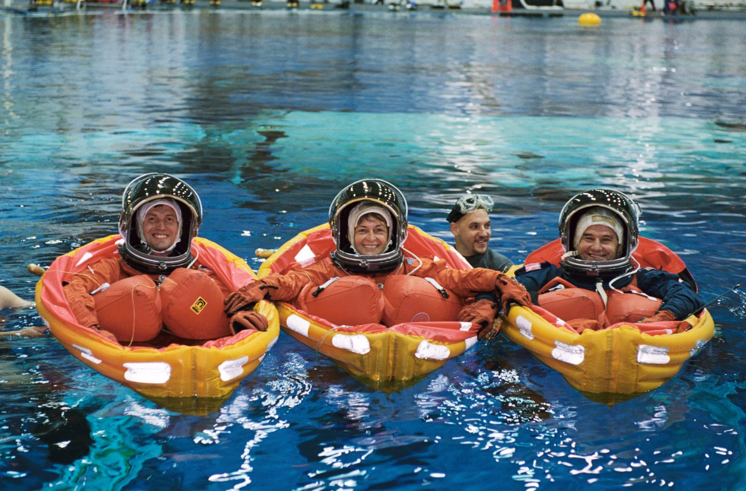 Expedition Five Crewmembers during Water Survival Training at SCTF