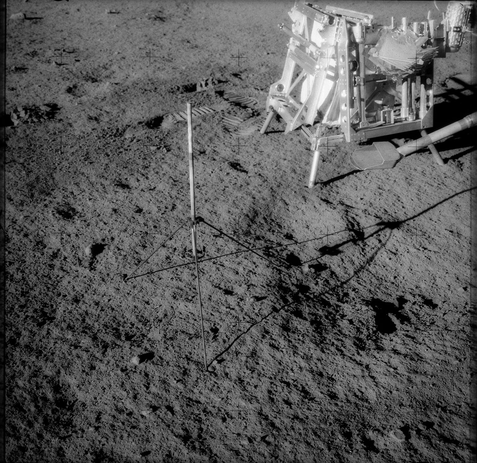 Apollo 12 Mission image - View of a Tri-pod holder for a core tube sampler and hand tool kit