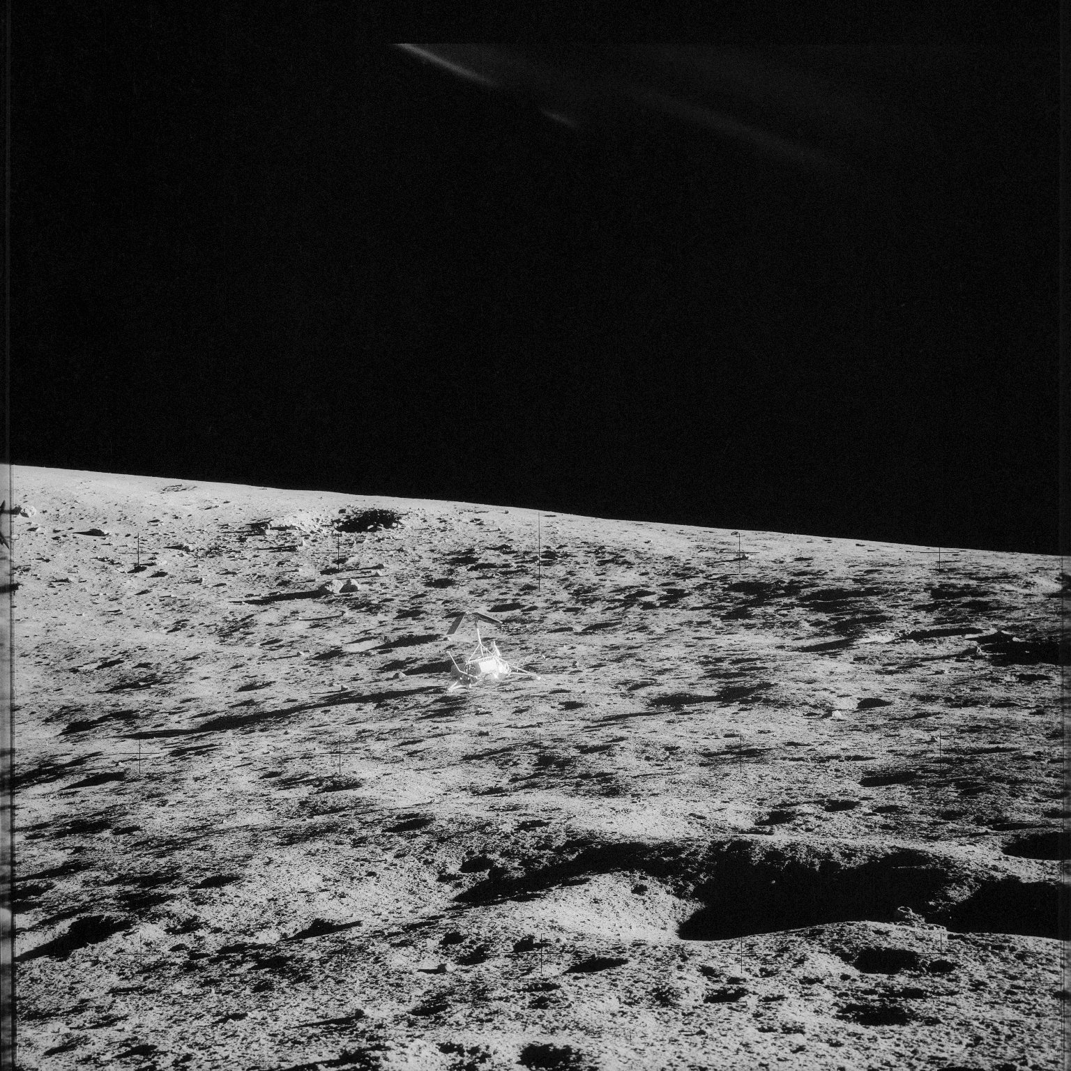 Apollo 12 Mission image - Surveyor Crater and Surveyor III, which landed April 19, 1967