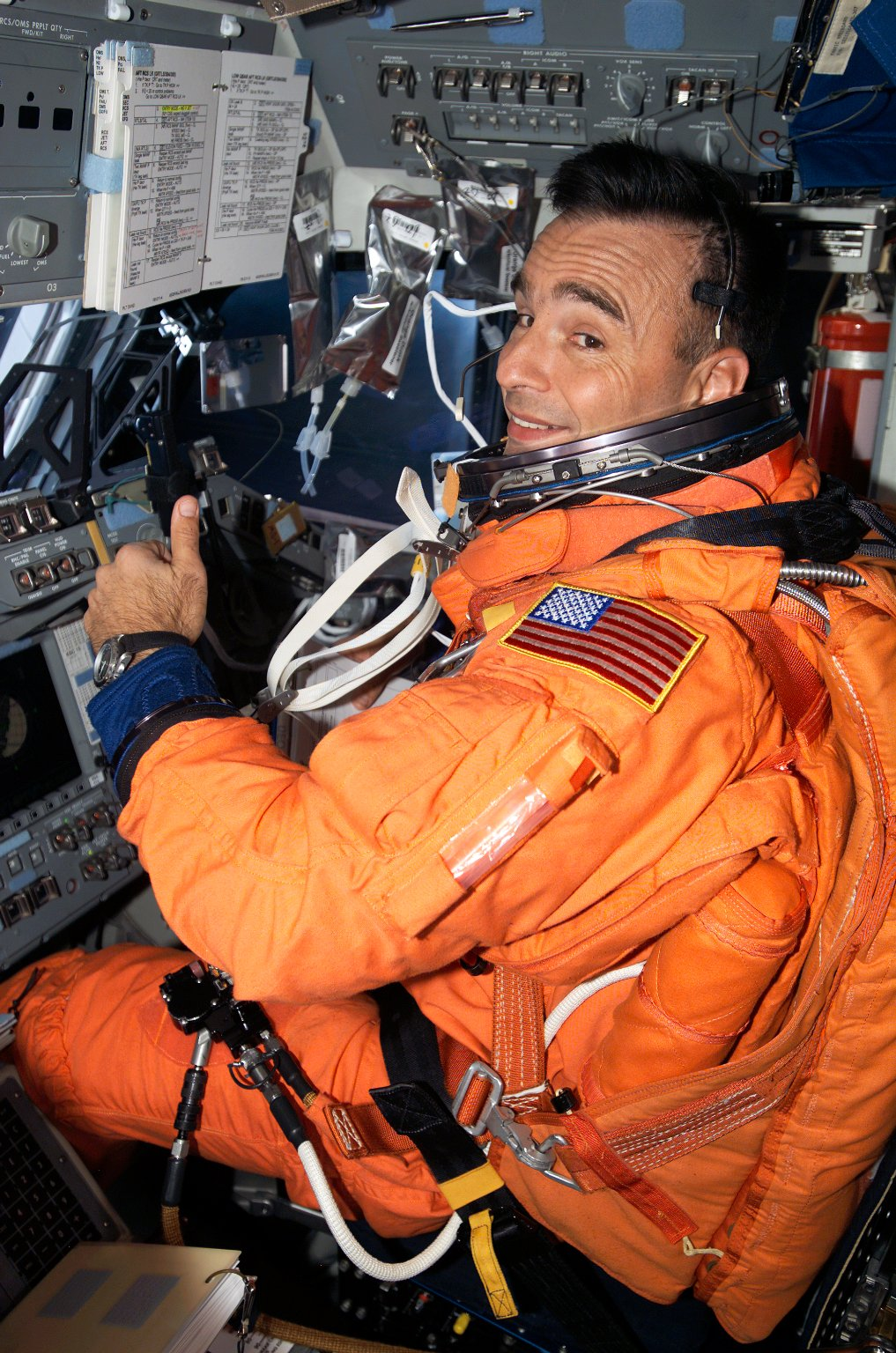 Archambault wearing LES in the FD on STS-117 Space Shuttle Atlantis
