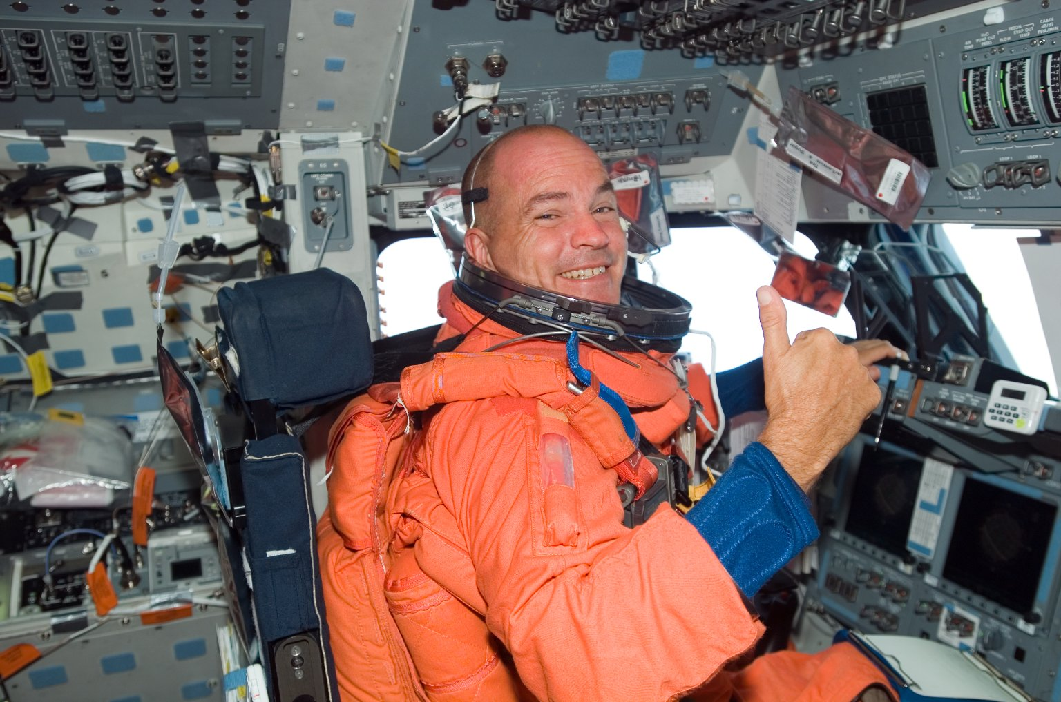 Sturckow wearing LES in the FD on STS-117 Space Shuttle Atlantis