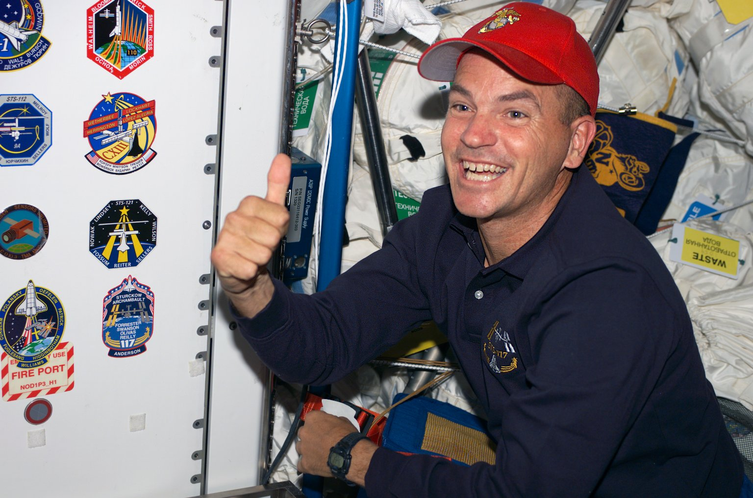 Sturckow gives the thumbs up in the Node 1