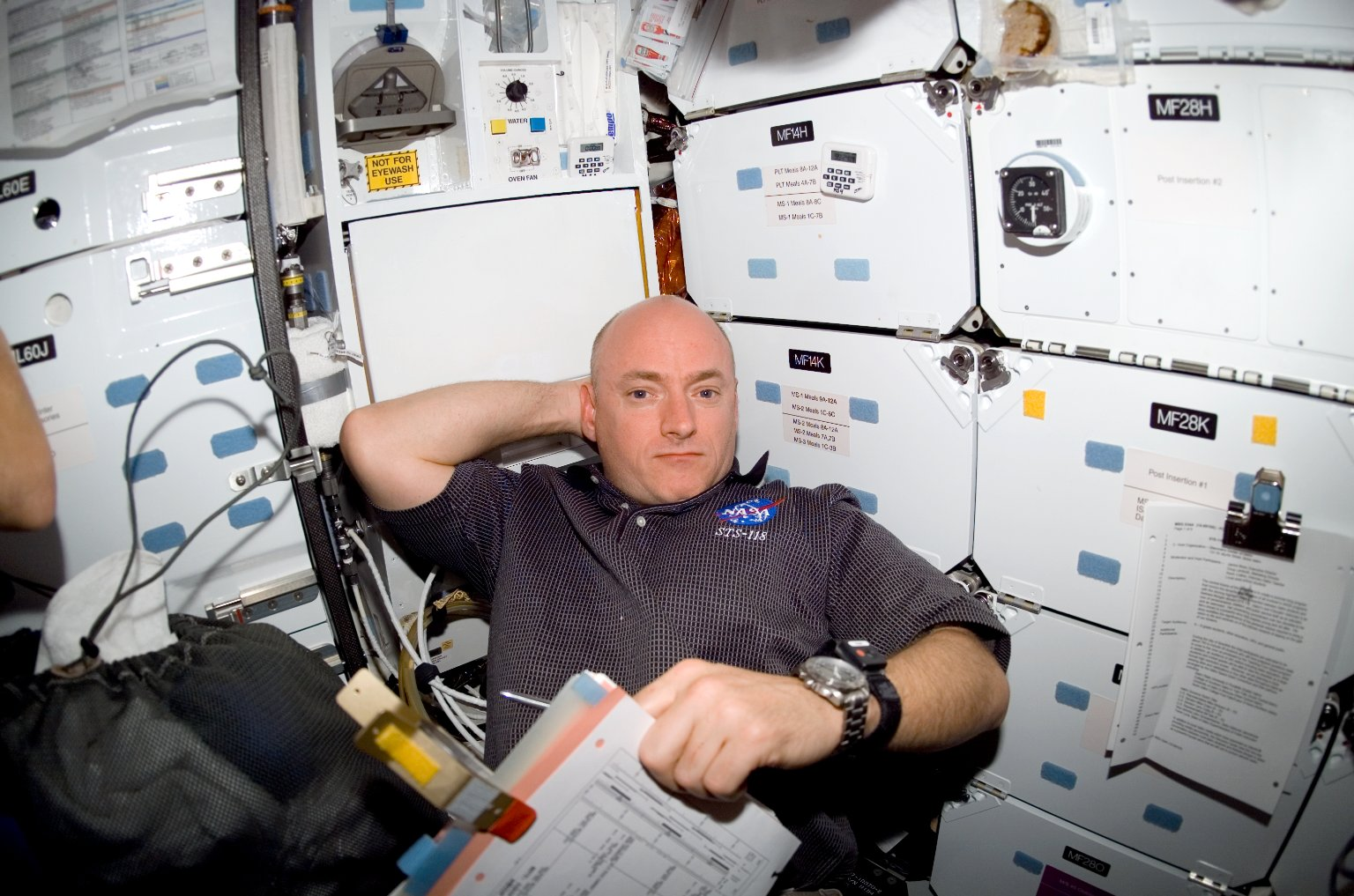 View of STS-118 CDR Kelly in the MDDK of Endeavour