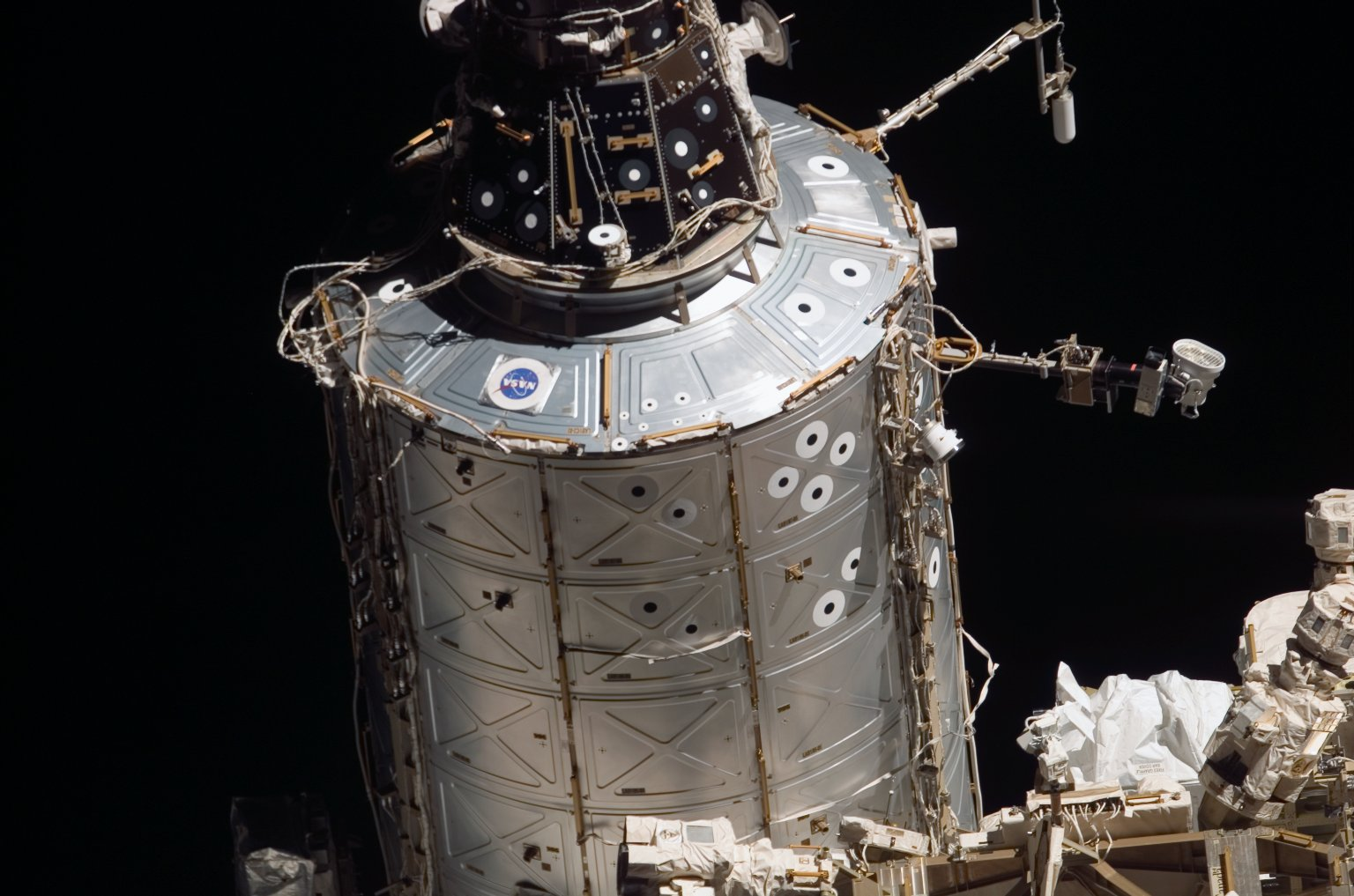 View of the U.S. Lab taken from the orbiter after undocking from the ISS during STS-121