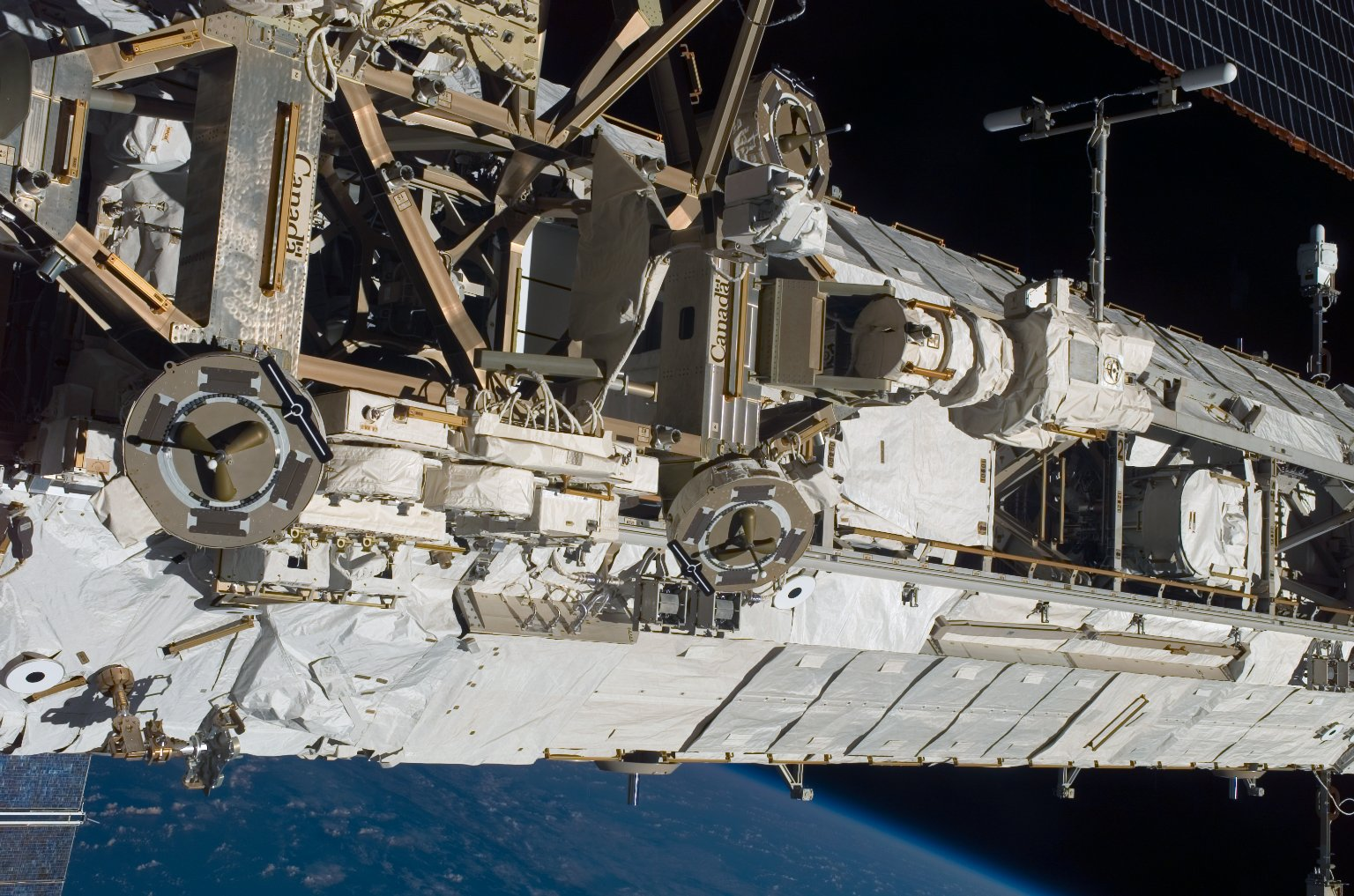 View of the MBS and P1 Truss taken during STS-121 / Expedition 13 joint operations