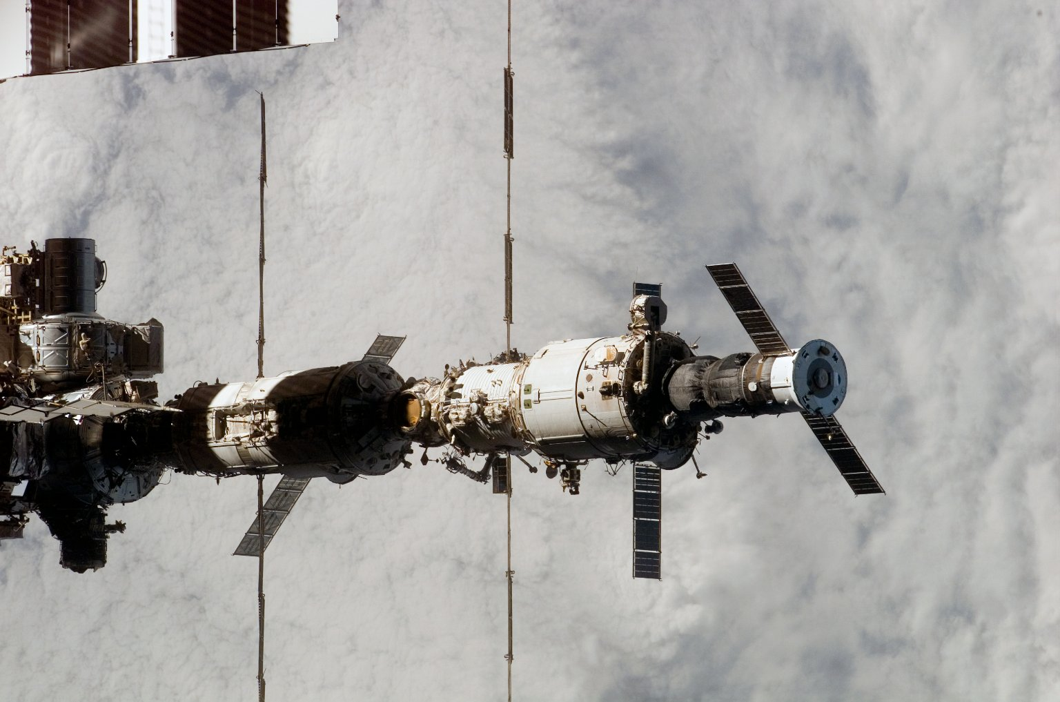 View of the ISS from the orbiter during separation on STS-121