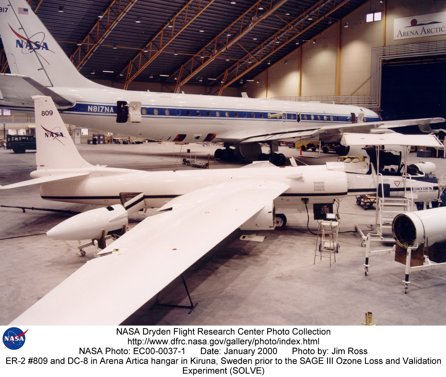ER-2 #809 and DC-8 in Arena Arctica hangar in Kiruna, Sweden prior to the SAGE III Ozone Loss and Va