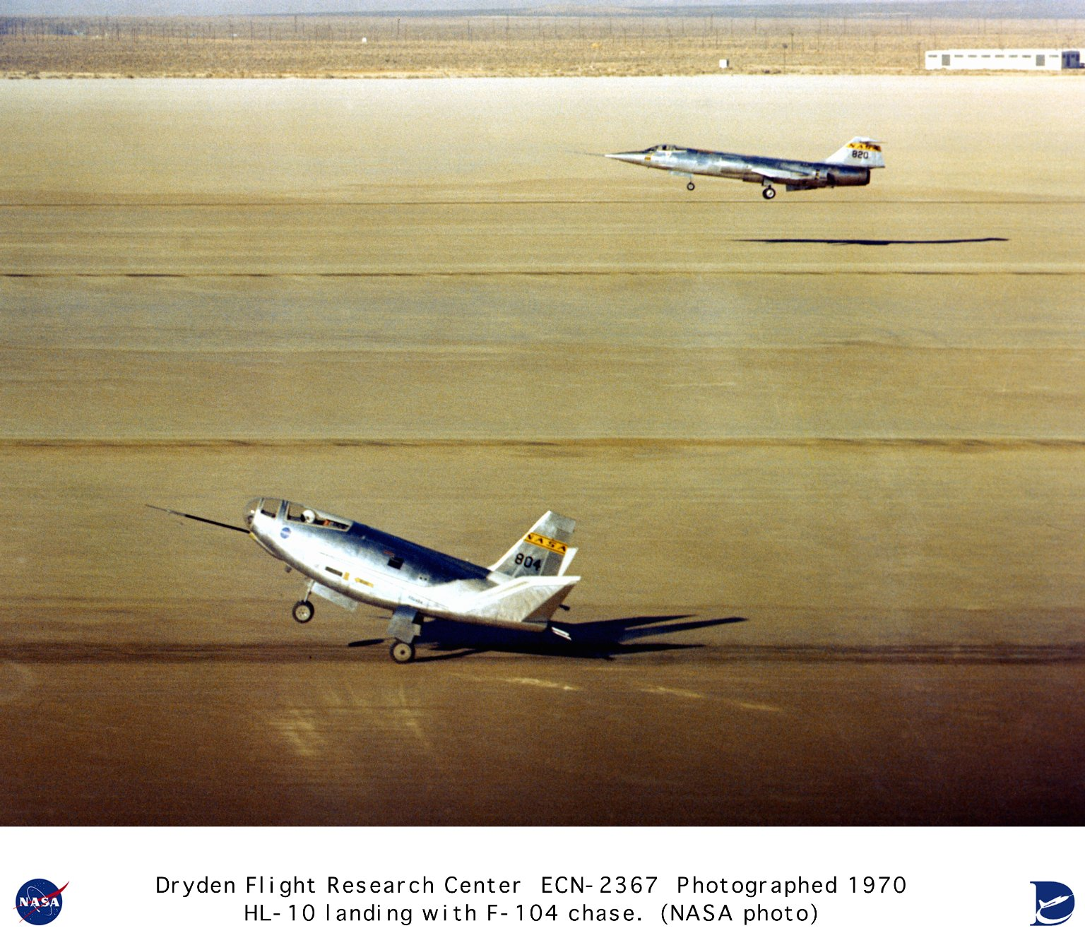 HL-10 landing on lakebed with F-104 chase aircraft