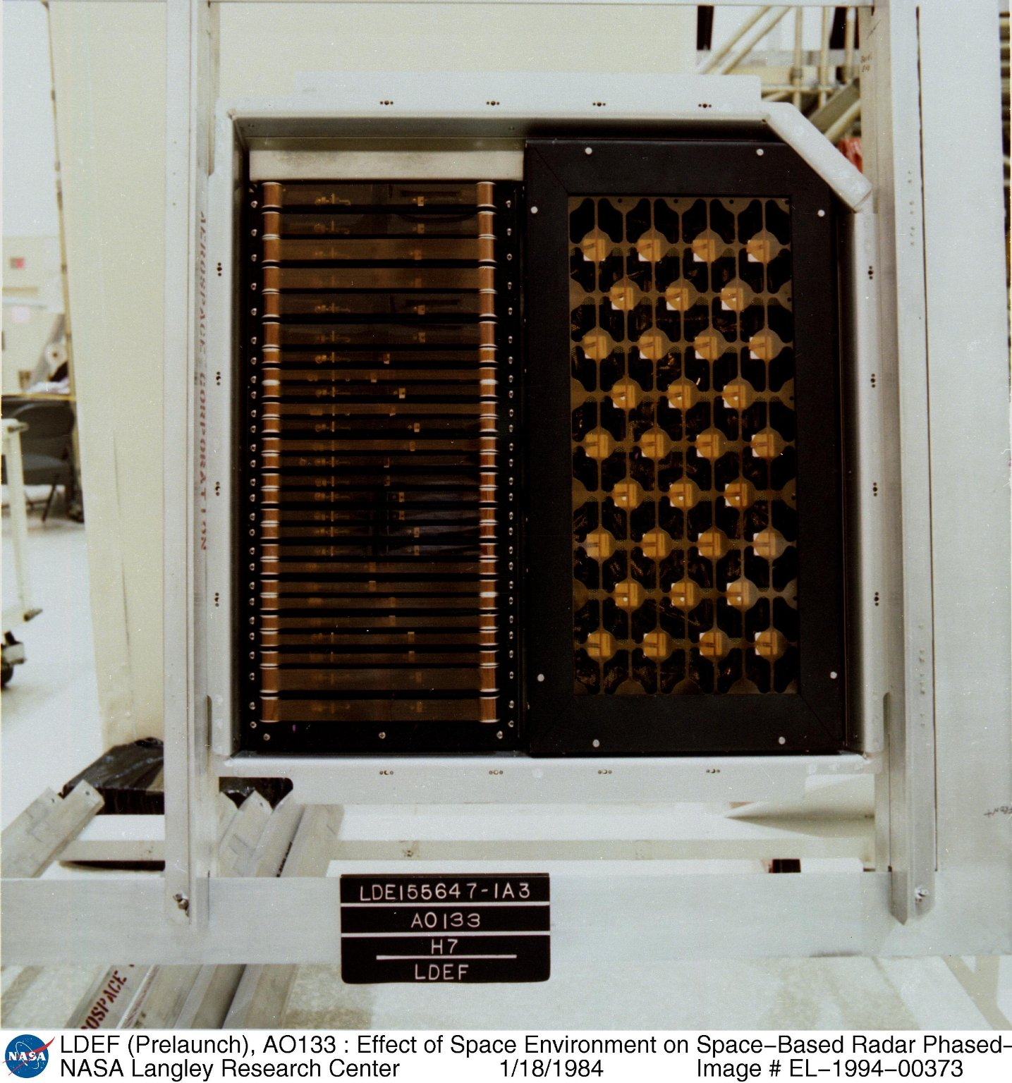 LDEF (Prelaunch), AO133 : Effect of Space Environment on Space-Based Radar Phased-Array Antenna, Tra