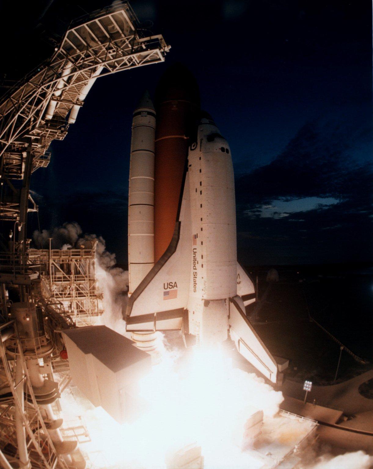 STS-77 Launch (front view fisheye closeup)