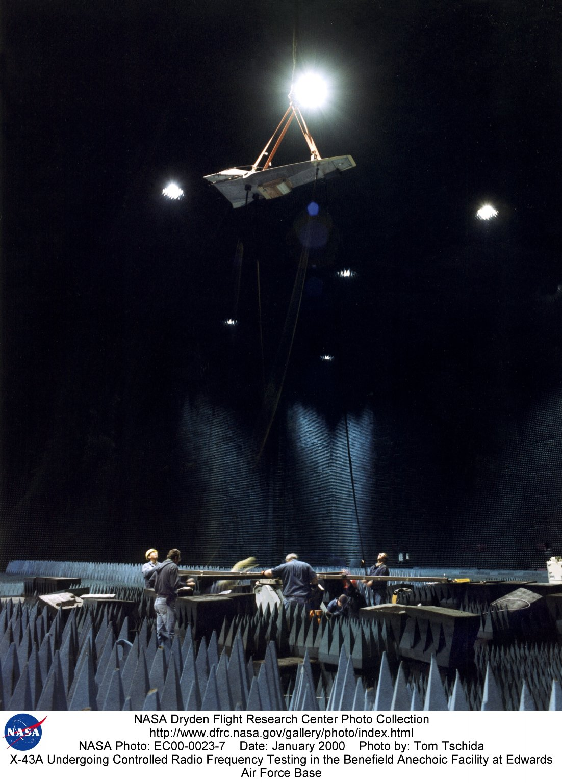 X-43A Undergoing Controlled Radio Frequency Testing in the Benefield Anechoic Facility at Edwards Ai