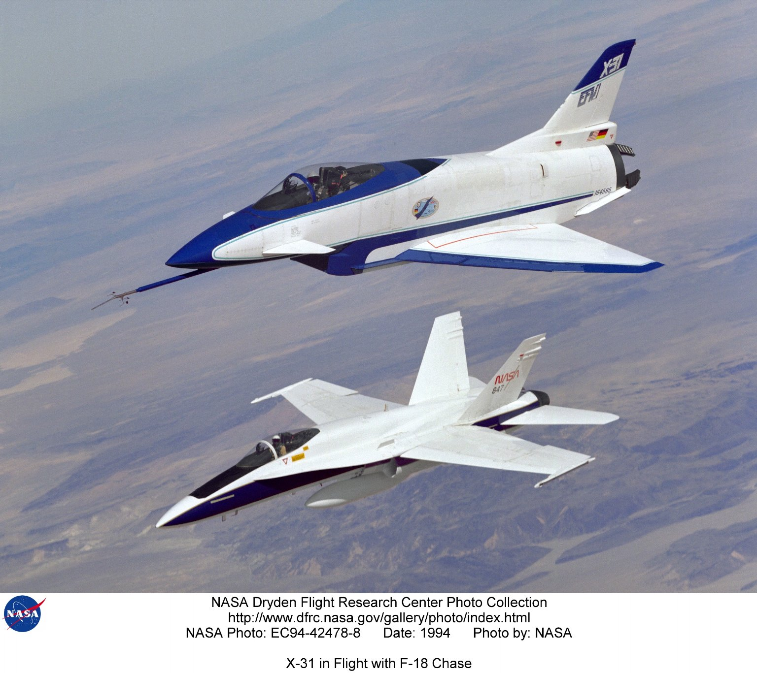 X-31 in Flight with F-18 Chase