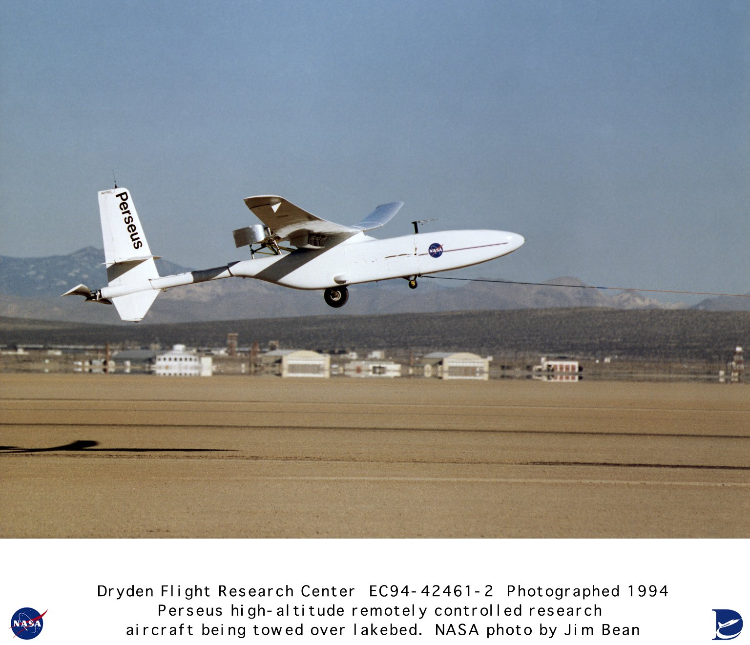 Perseus A High Altitude Remotely Piloted Aircraft being Towed in Flight