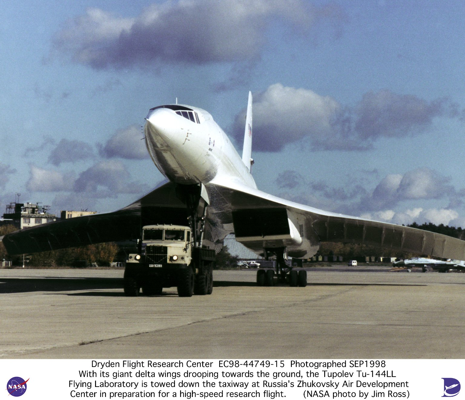 Tu-144LL SST Flying Laboratory Being Towed Down Taxiway