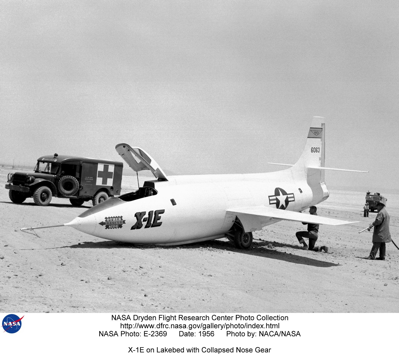 X-1E on Lakebed with Collapsed Nose Gear