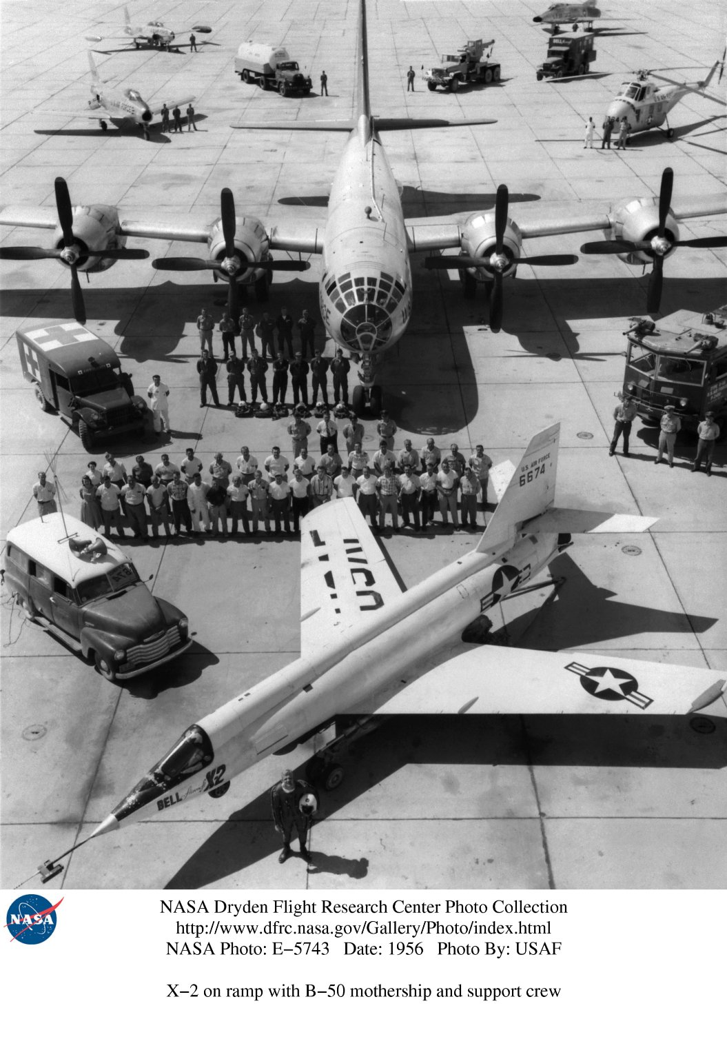 X-2 on ramp with B-50 mothership and support crew