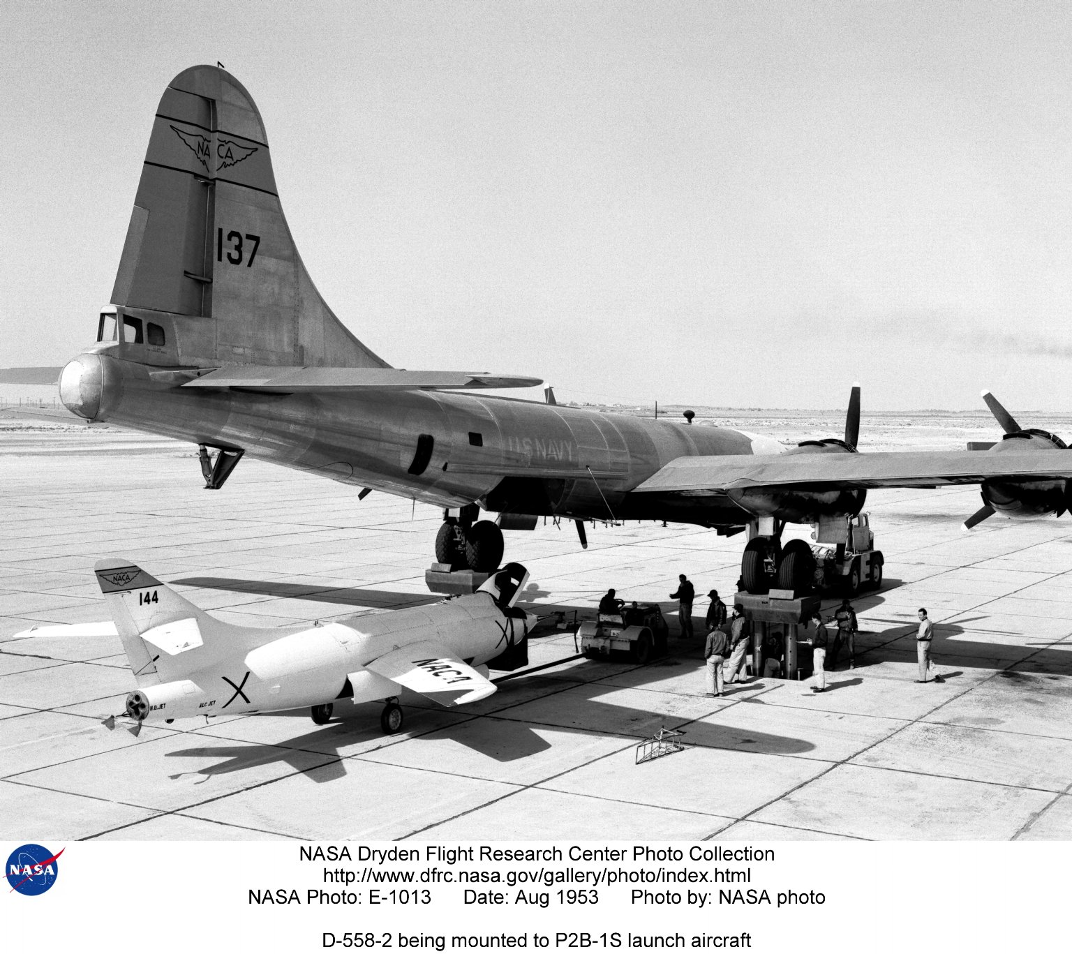 D-558-2 being mounted to P2B-1S launch aircraft
