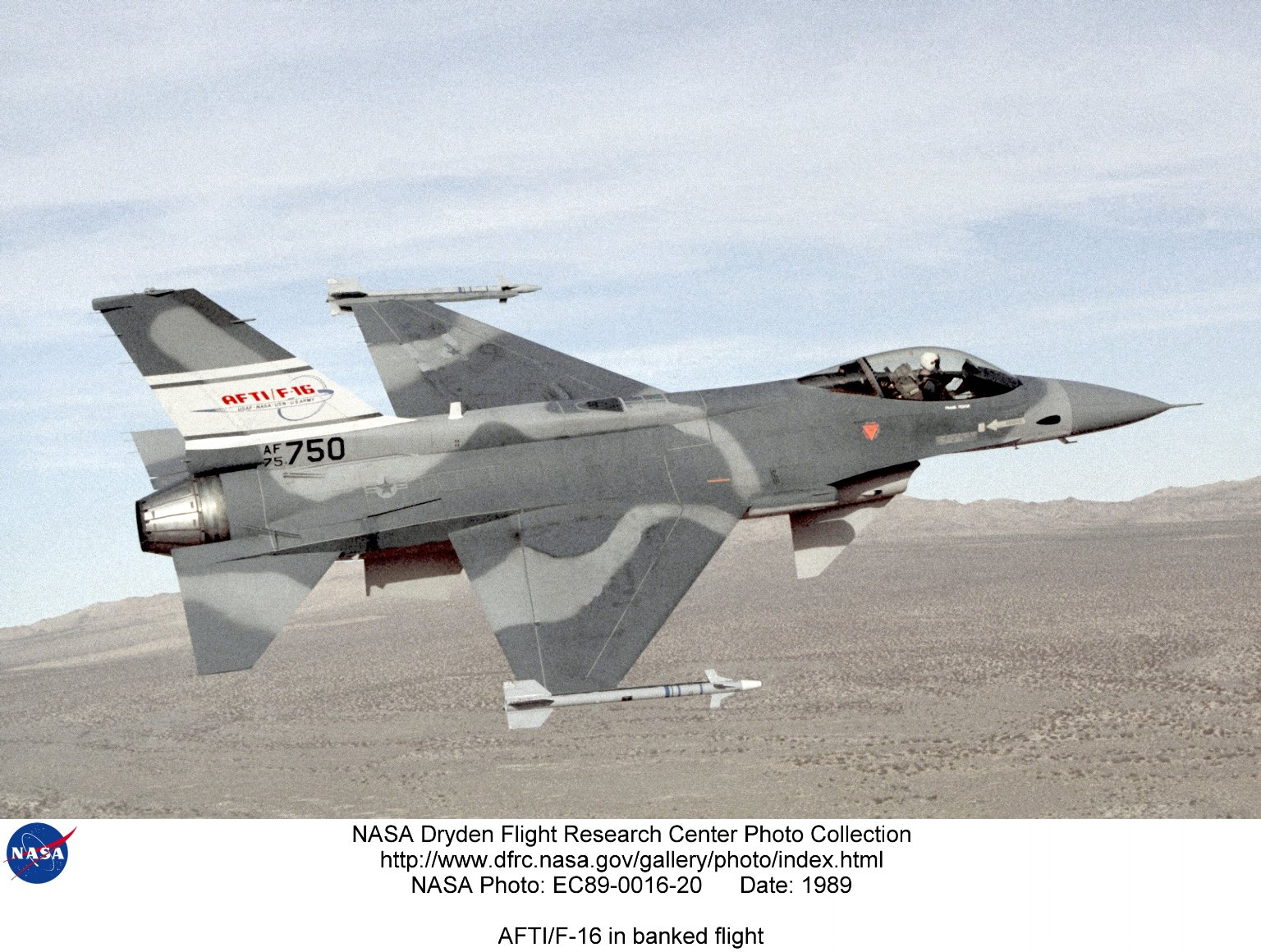AFTI/F-16 in banked flight