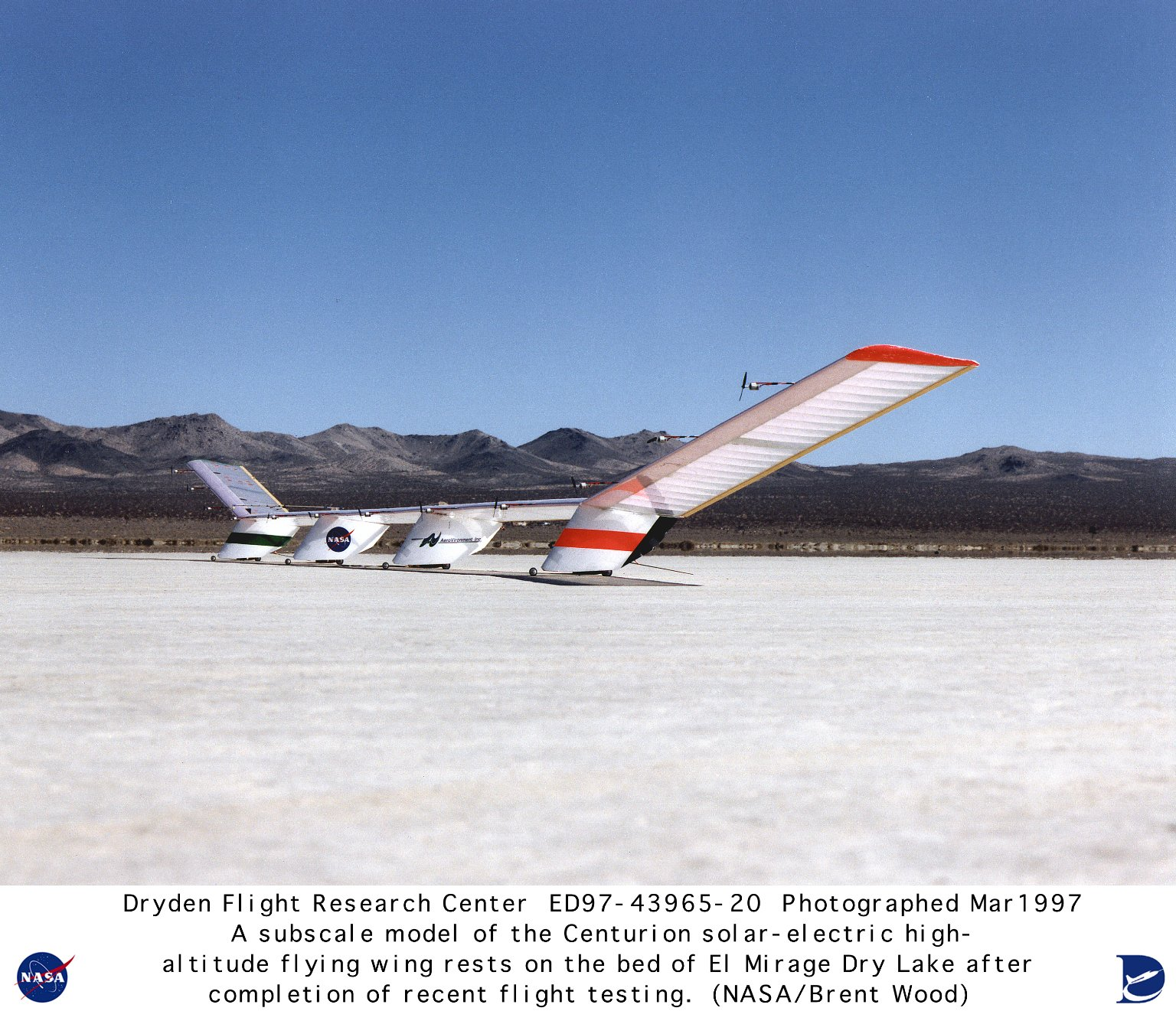 Quarter-scale Model of Solar-powered Centurion Ultra-high-altitude Flying Wing on Lakebed