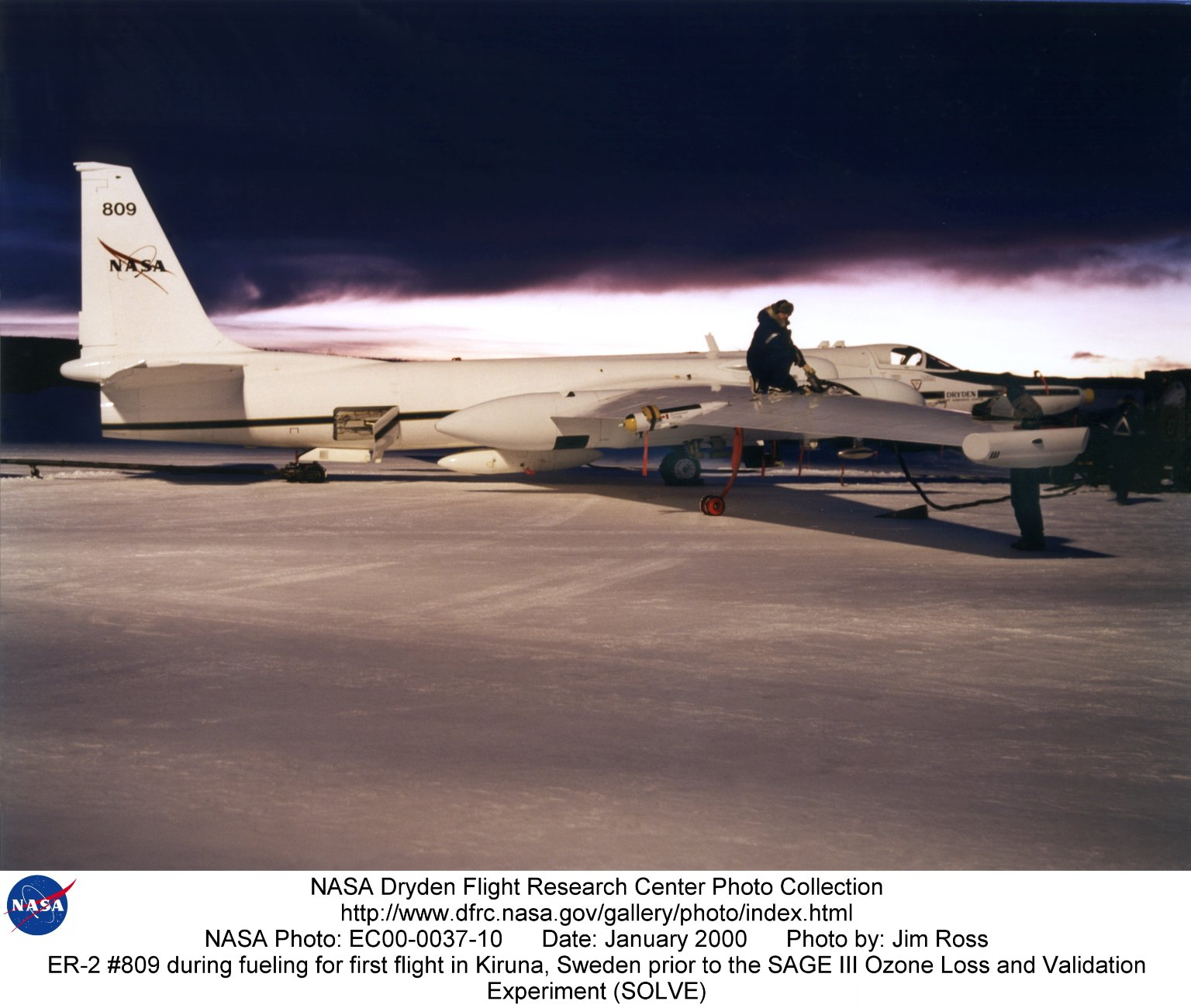 ER-2 #809 during fueling for first flight in Kiruna, Sweden prior to the SAGE III Ozone Loss and Val