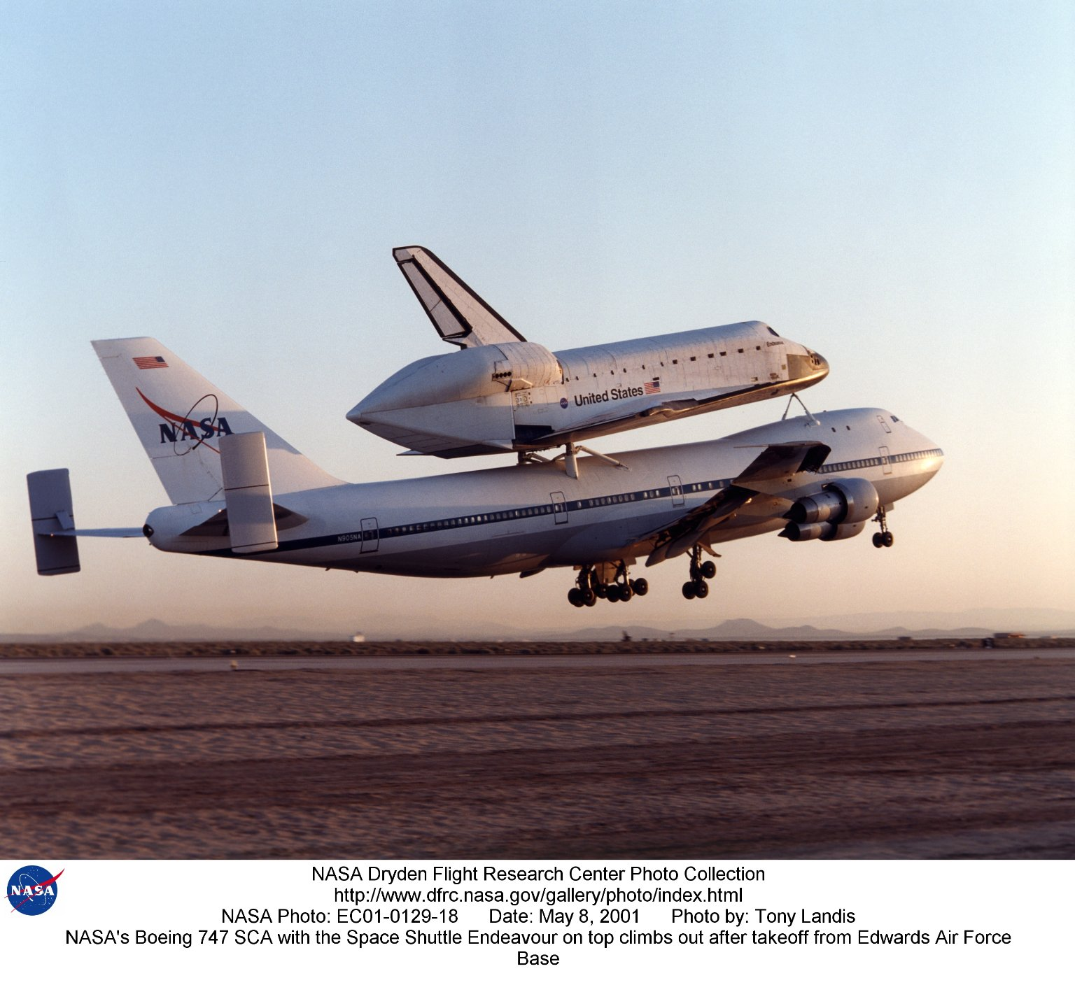 NASA's Boeing 747 SCA with the Space Shuttle Endeavour on top climbs out after takeoff from Edwards