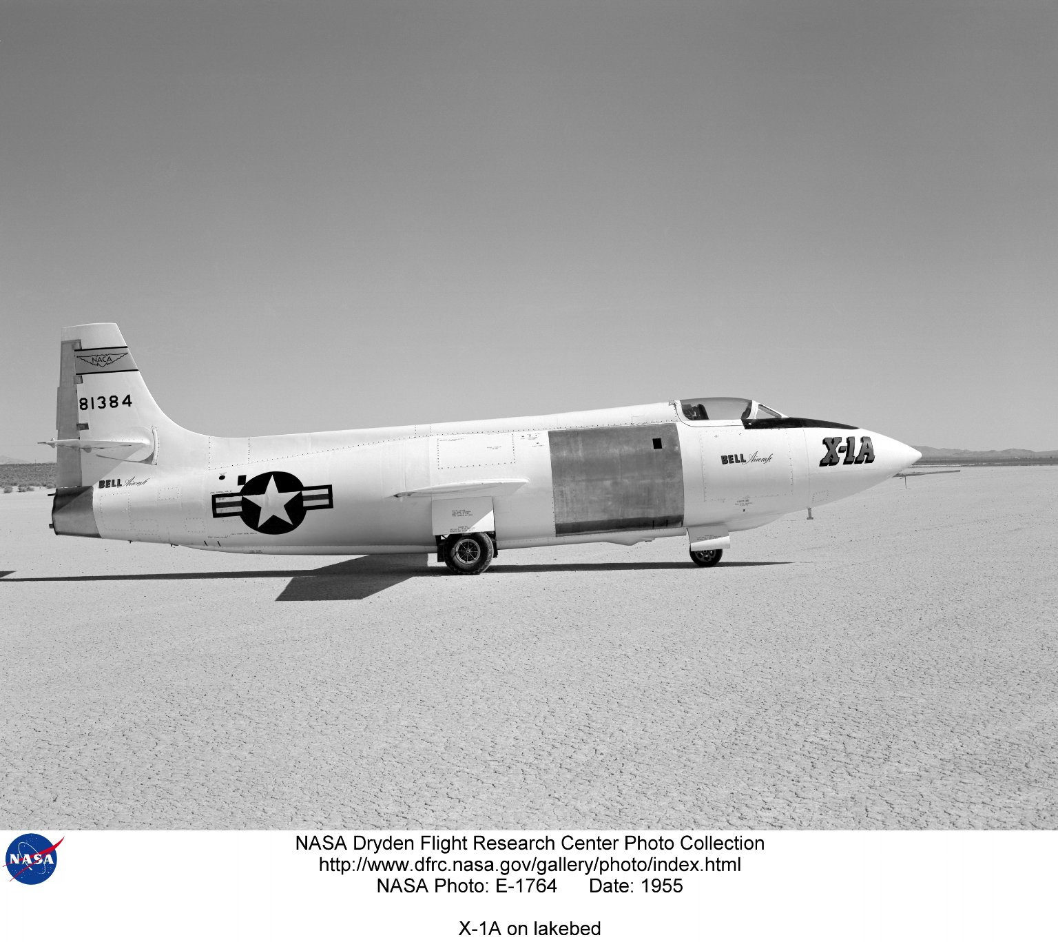 X-1A on lakebed