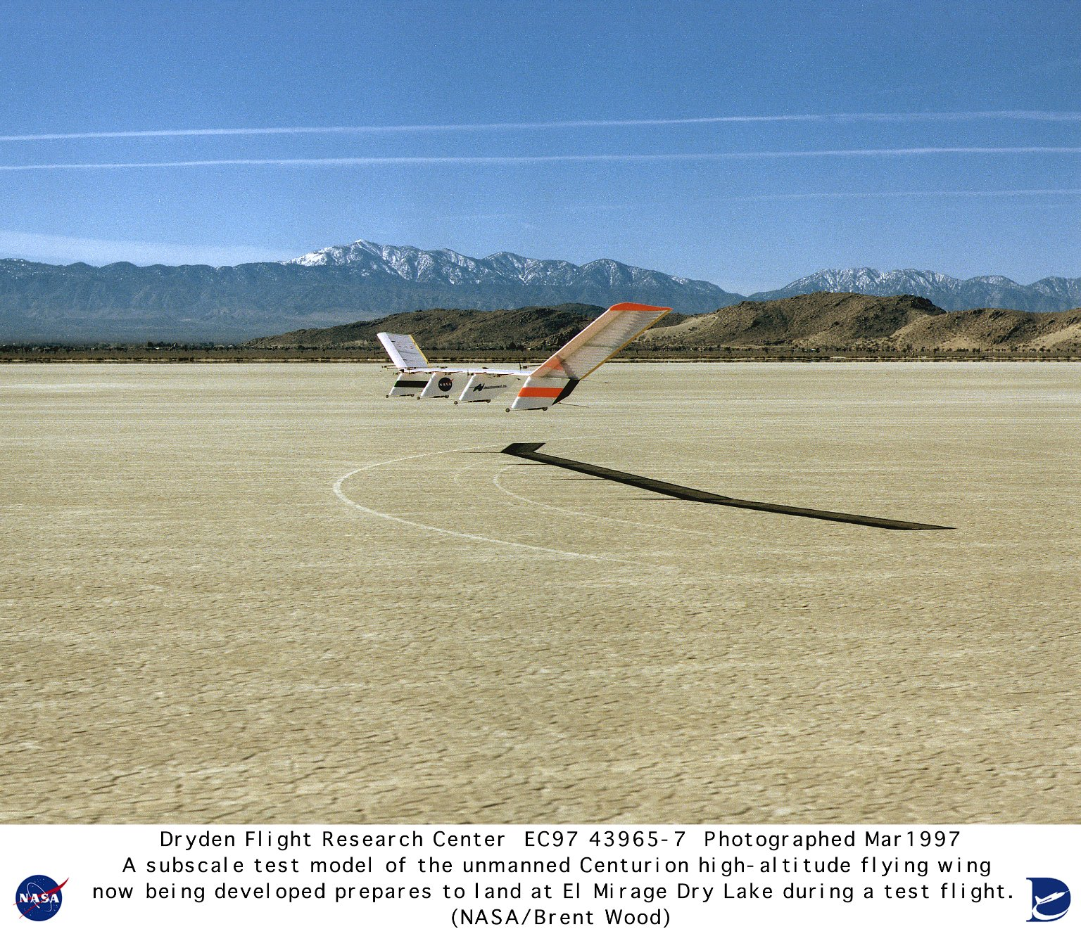 Quarter-scale Model of Solar-powered Centurion Ultra-high-altitude Flying Wing Landing during First