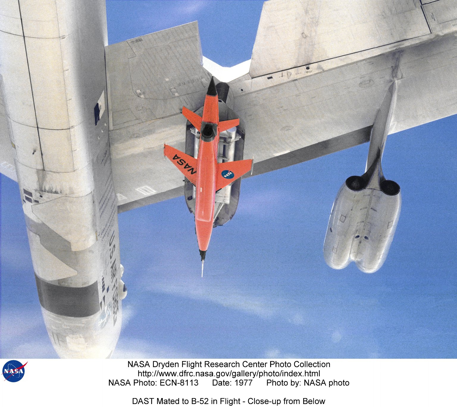 DAST Mated to B-52 in Flight - Close-up from Below