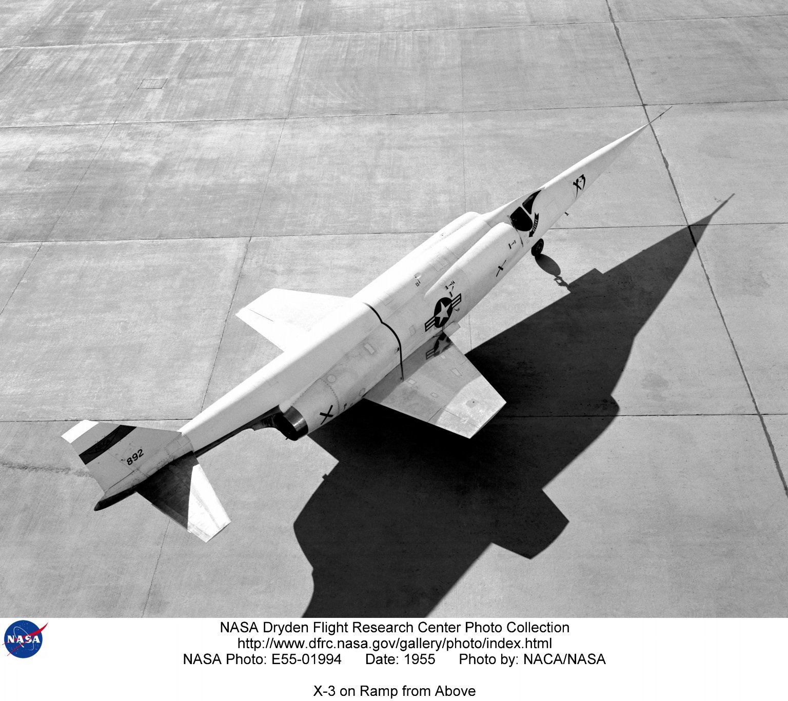 X-3 on Ramp from Above