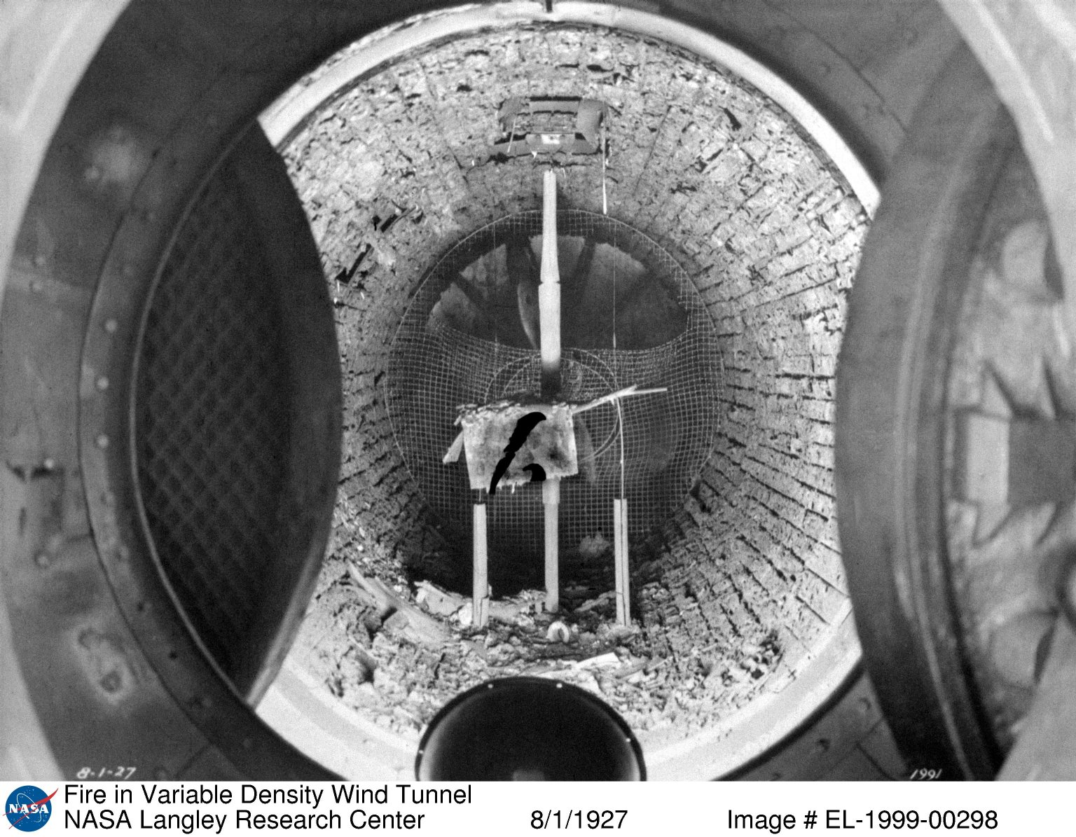 Fire in Variable Density Wind Tunnel