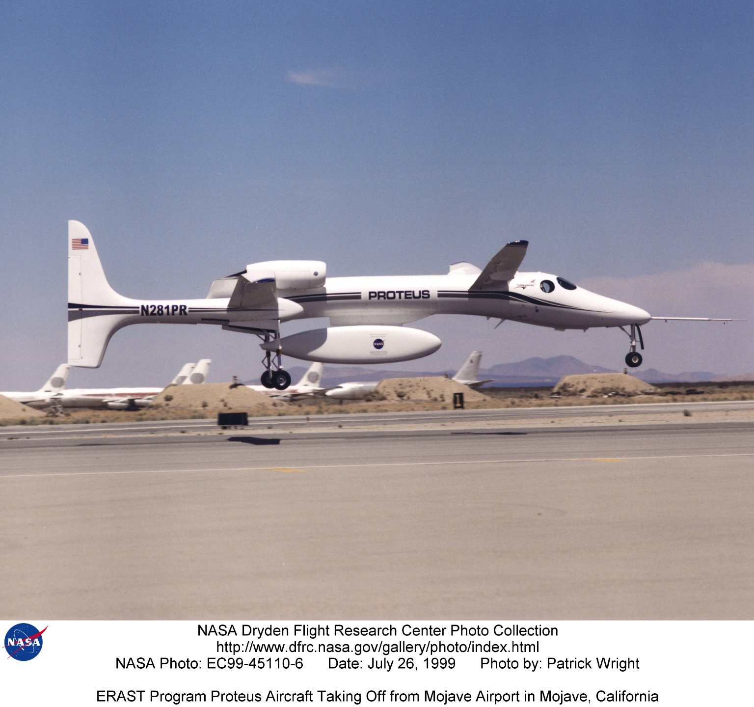 ERAST Program Proteus Aircraft Taking Off from Mojave Airport in Mojave, California