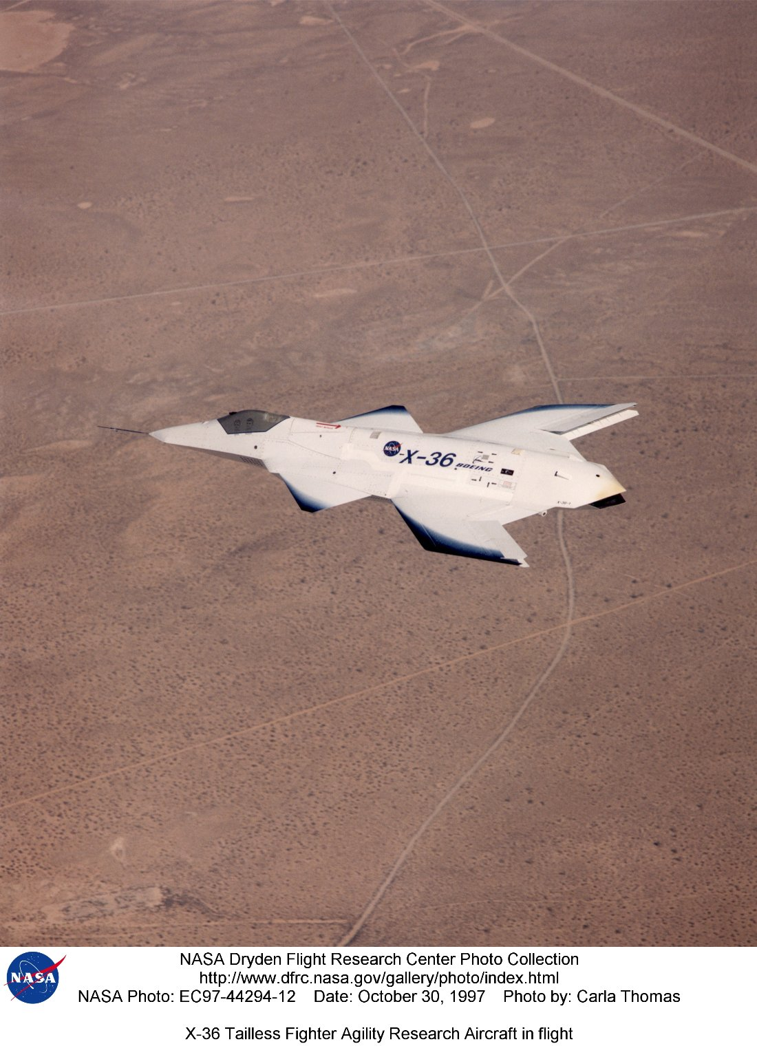 X-36 Tailless Fighter Agility Research Aircraft in flight