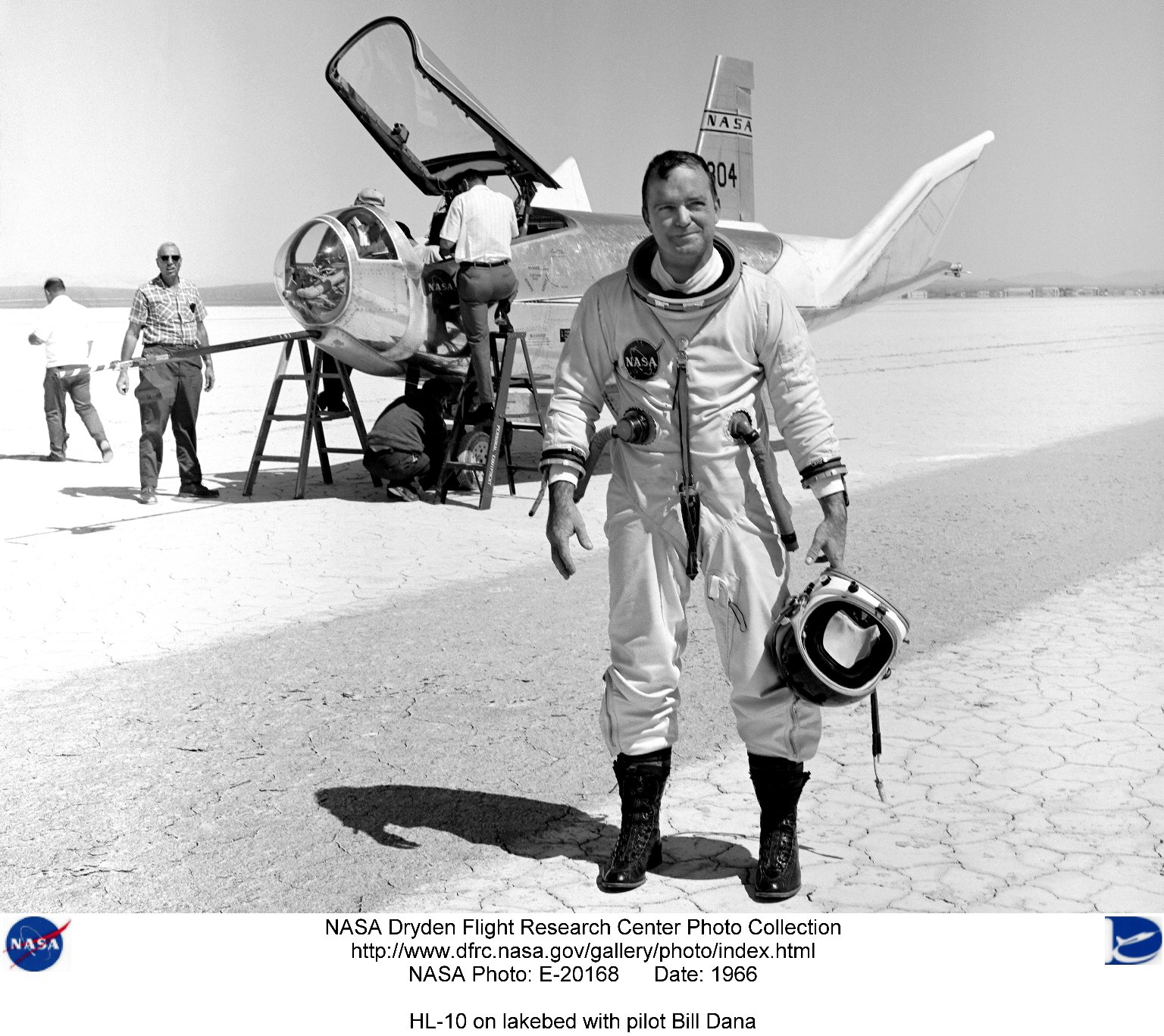 HL-10 on lakebed with pilot Bill Dana