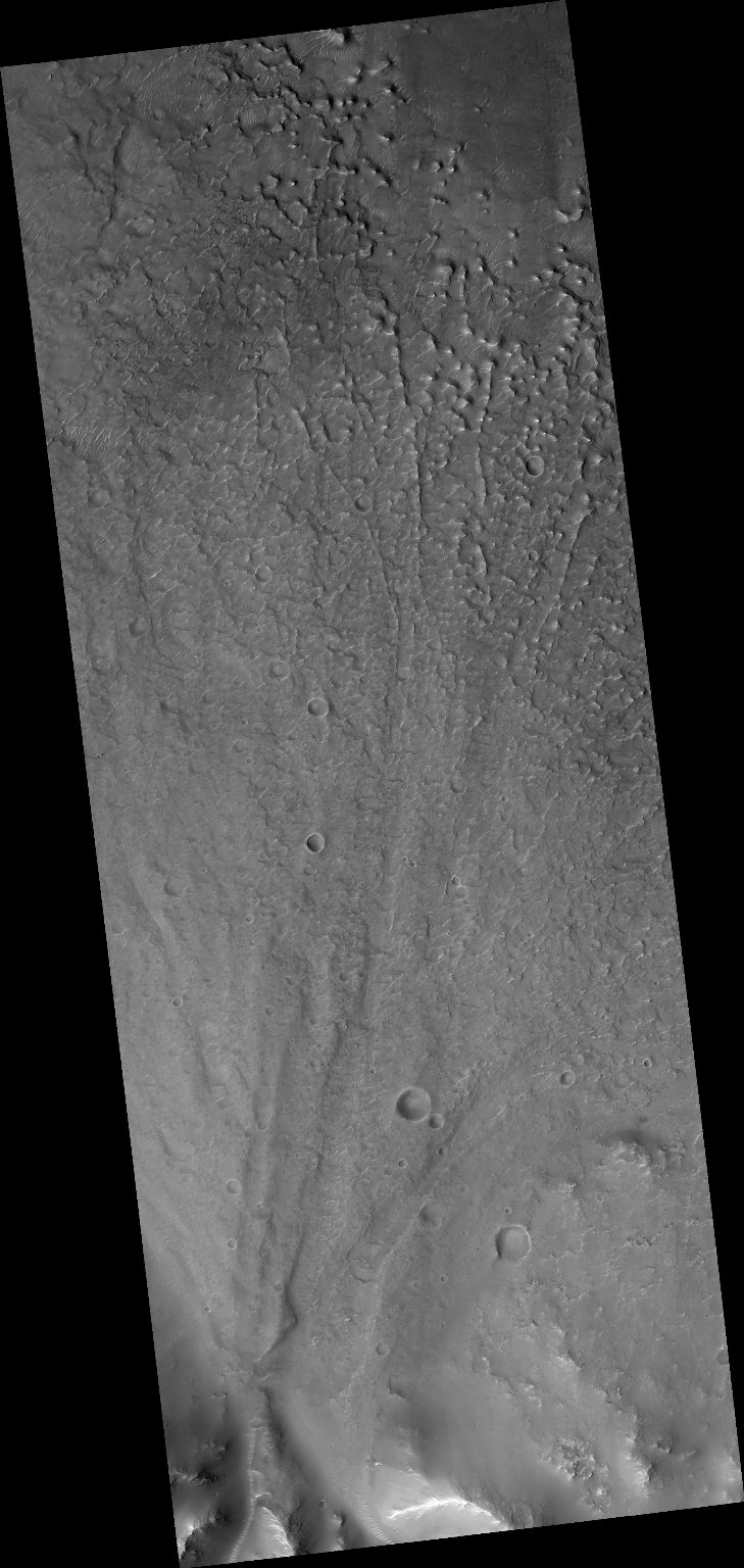 Alluvial Fan Along a Crater Wall