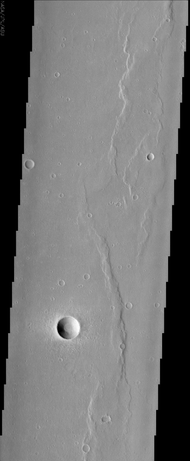 Wrinkle Ridges and Young Fresh Crater