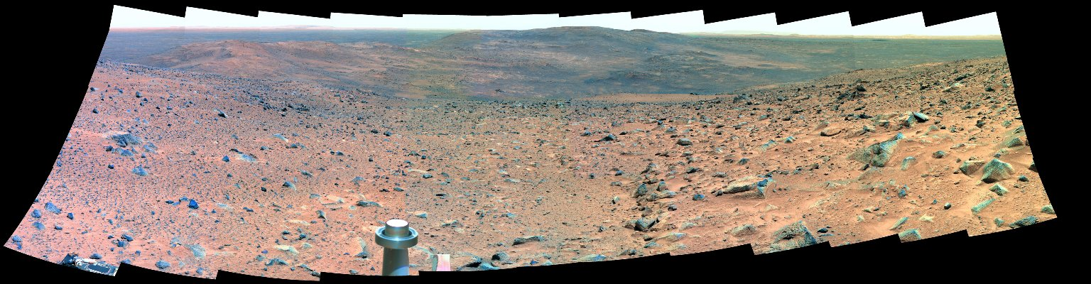 """Sweeping View of the """"Columbia Hills"""" and Gusev Crater (False Color)"""