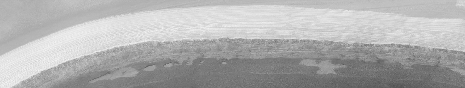MGS MOC Extended Mission View of North Polar Layers