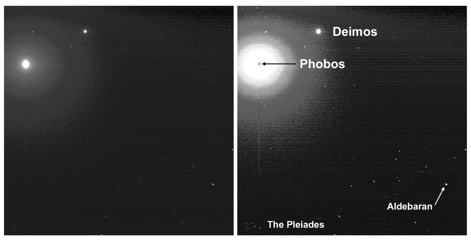 Two Moons and the Pleiades from Mars