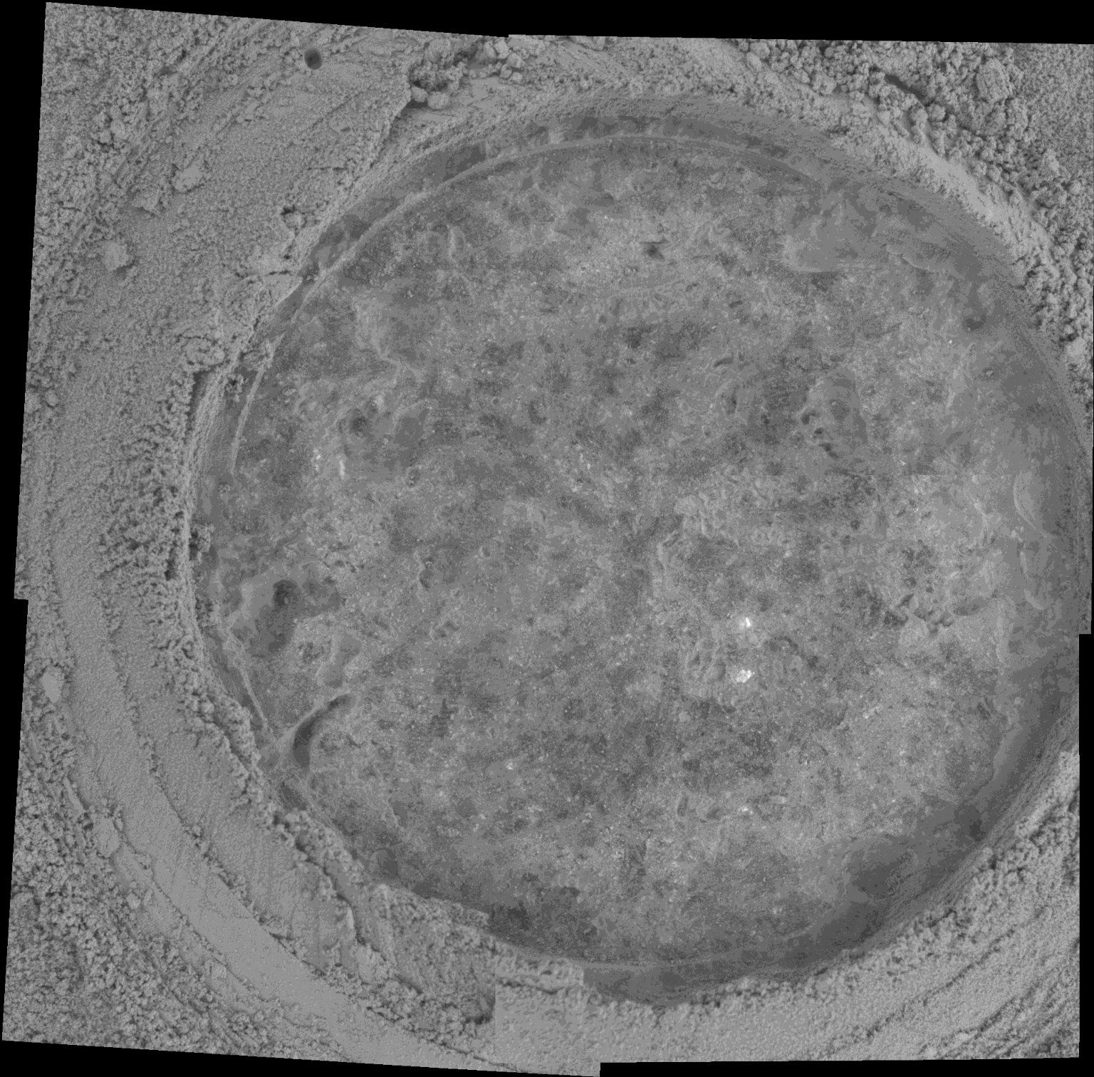 """Abraded Target on Rock """"Champagne"""" in Gusev Crater"""