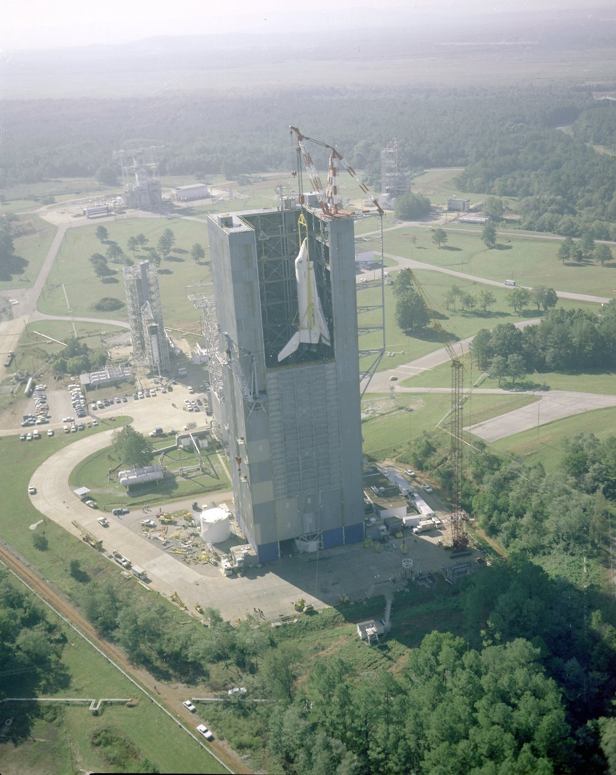 Space Shuttle Enterprise Lifted into Dynamic Test Stand