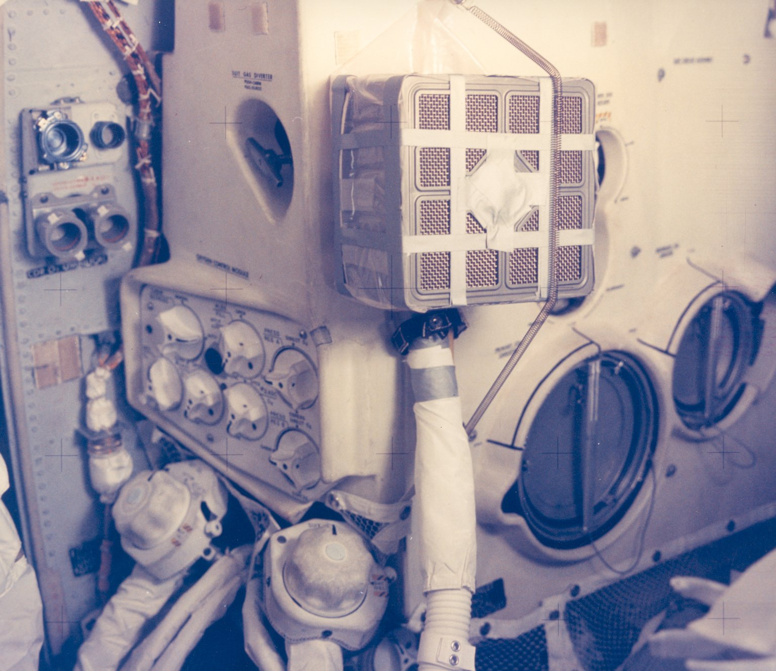 """Interior View of the Apollo 13 Lunar Module and the """"Mailbox"""