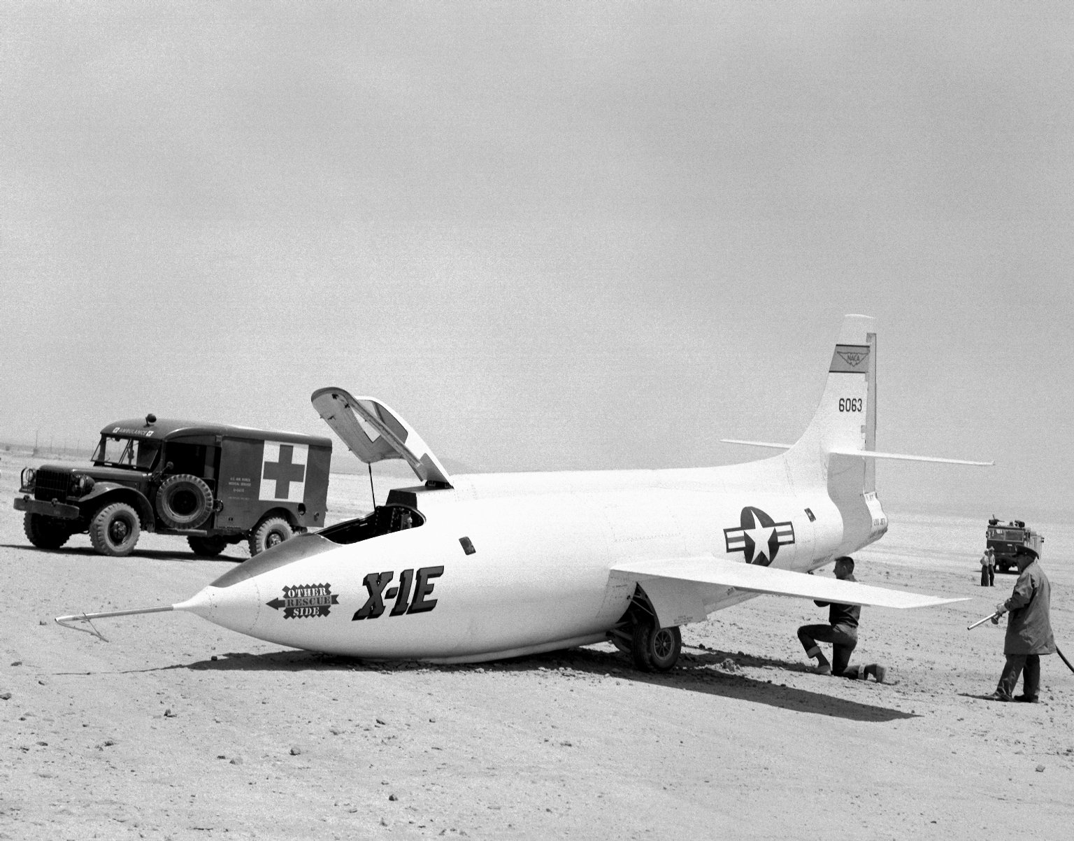 X-1E On Rogers Dry Lake With Collapsed Nose Gear