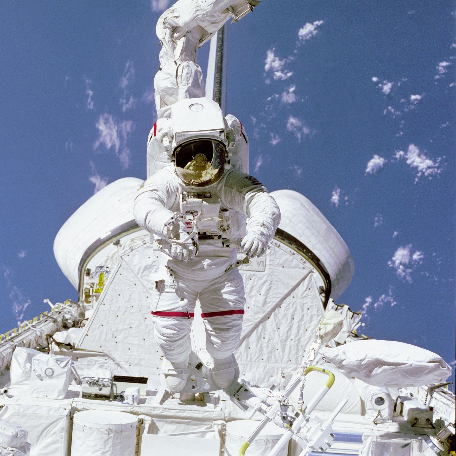 McCandless on Arm in Aft Payload Bay