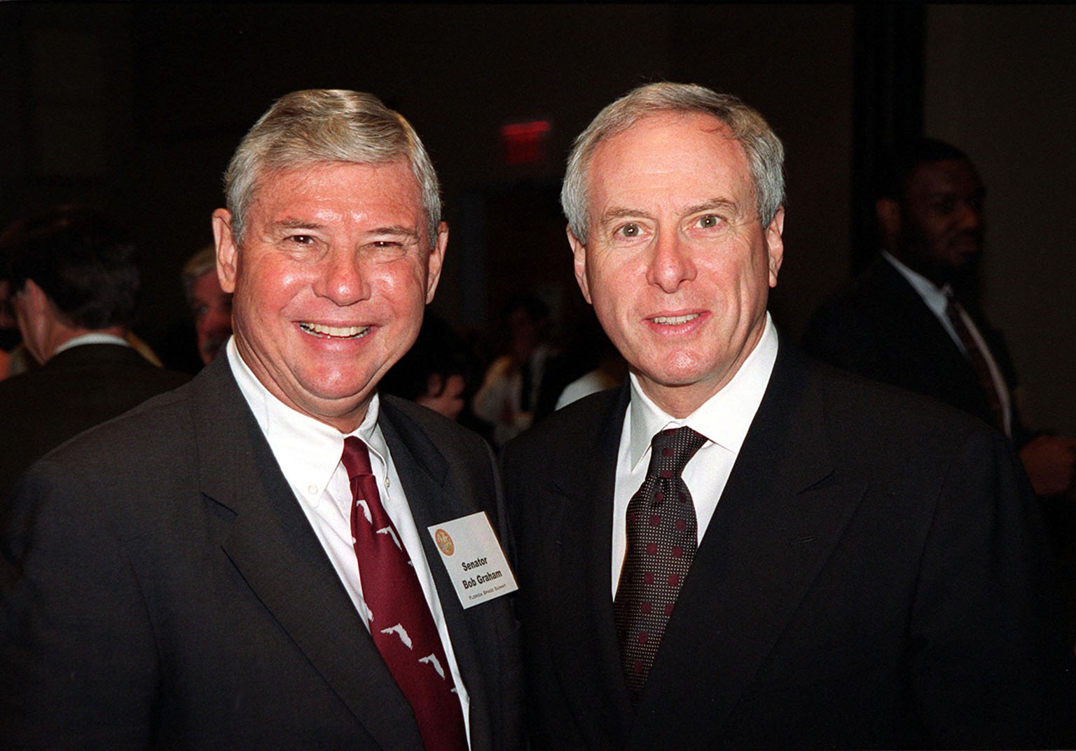 Senator Bob Graham (left) and NASA Administrator Dan Goldin (right) are two of the participants in the First Florida Space Summit, held at the Kennedy Space Center Visitor Complex. The event, featuring a discussion on the future of space as it relates to the State of Florida and moderated by Center Director Roy Bridges, included other participants such as Senator Connie Mack, Rep. Dave Weldon, 45th Space Wing Commander Brig. Gen. Donald Pettit and heads of aerospace companies