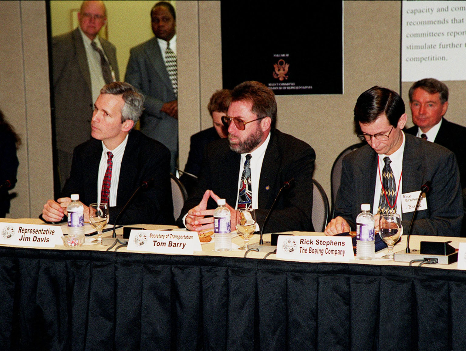 Participants in the First Florida Space Summit take part in a discussion on the future of space as it relates to the State of Florida. The discussion, held at the Kennedy Space Center Visitor Complex, was moderated by Center Director Roy Bridges. Seated (left to right) are Representative Jim Davis, Secretary of Transportation Tom Barry and Rick Stephens, who represented The Boeing Company. The event also included Senator Bob Graham, Senator Connie Mack, Representative Dave Weldon, 45th Space Wing Commander Brig. Gen. Donald Pettit and heads of aerospace companies