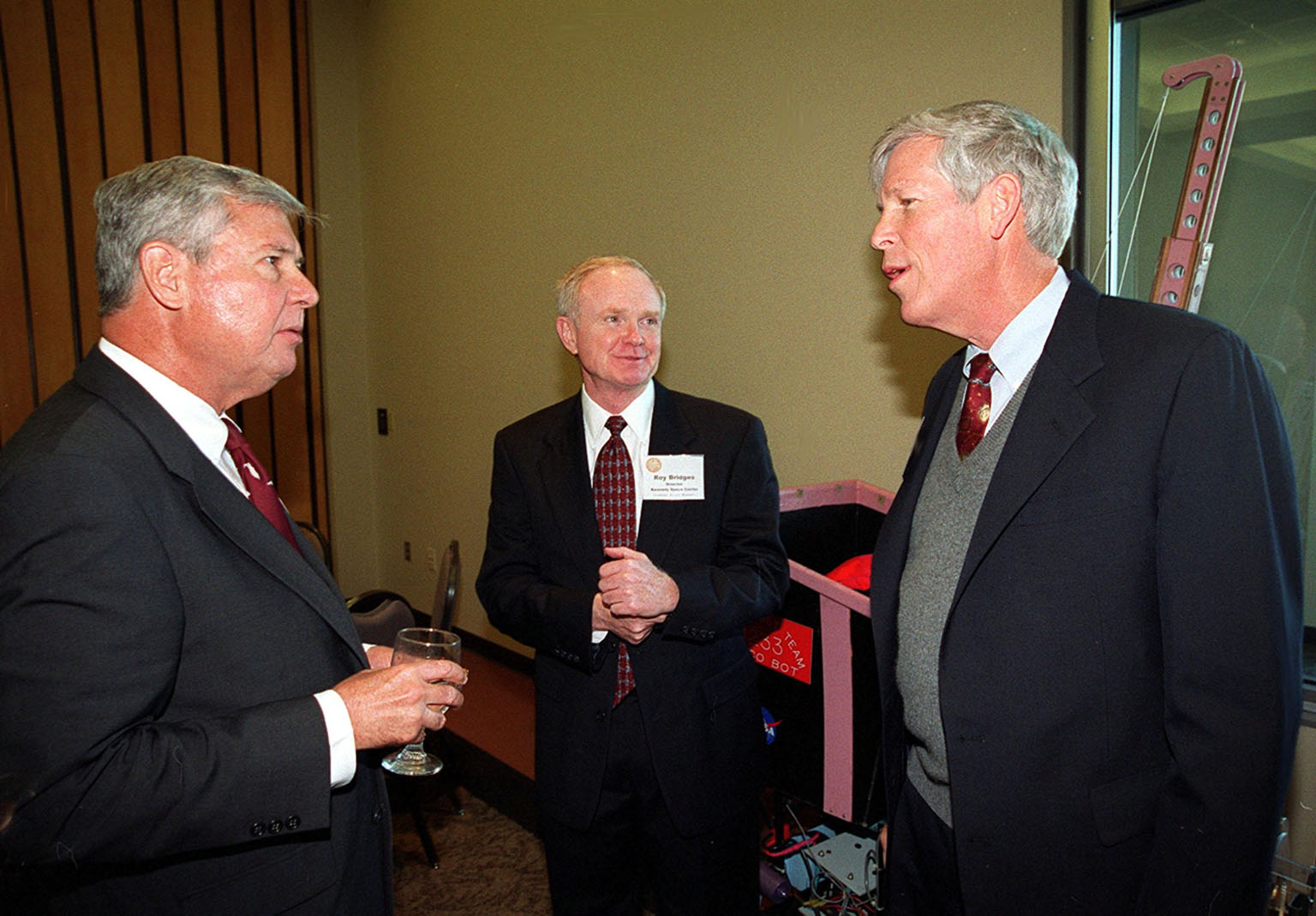 Senator Bob Graham (left), Center Director Roy Bridges (center) and Senator Connie Mack (right) take a break during the First Florida Space Summit, held at the Kennedy Space Center Visitor Complex. The summit featured key state officials and aerospace companies discussing the future of space as it relates to the State of Florida. Moderated by Bridges, the event also included State Senator Patsy Kurth, Representative Dave Weldon, and 45th Space Wing Commander Brig. Gen. Donald Pettit